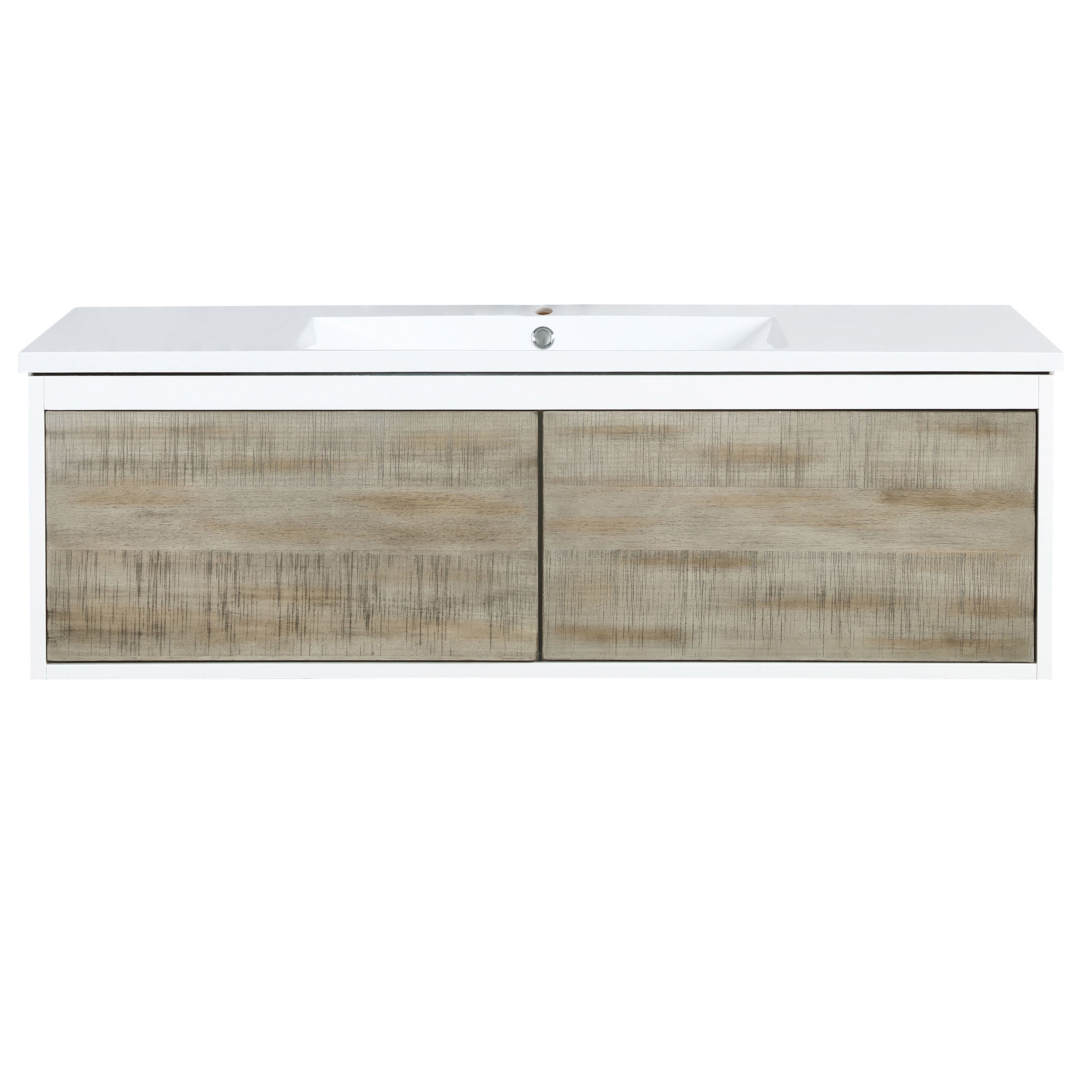 """48"""" Rustic Acacia Bathroom Vanity and Acrylic Composite Top with Integrated Sink"""