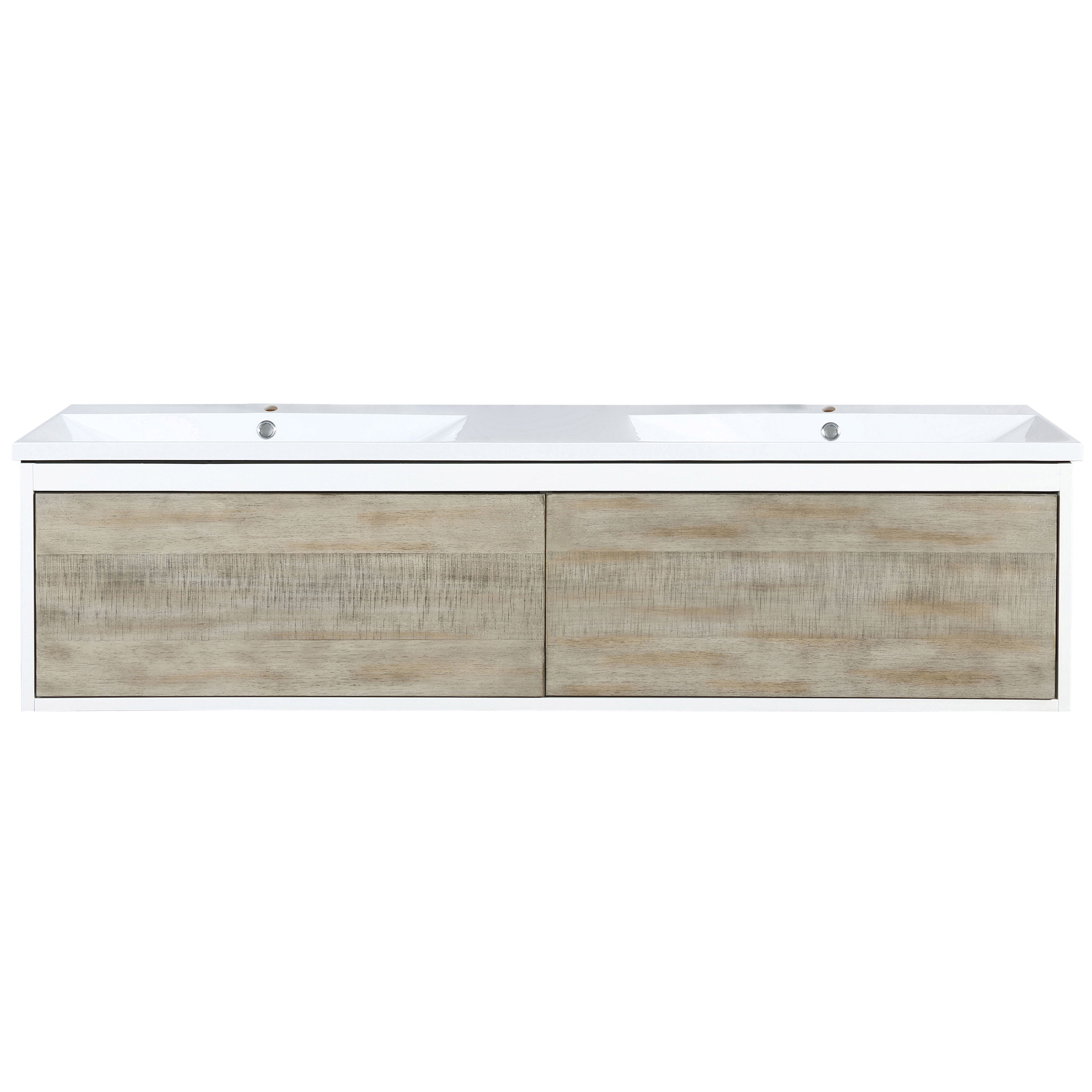 """60"""" Rustic Acacia Double Bathroom Vanity and Acrylic Composite Top with Integrated Sinks"""