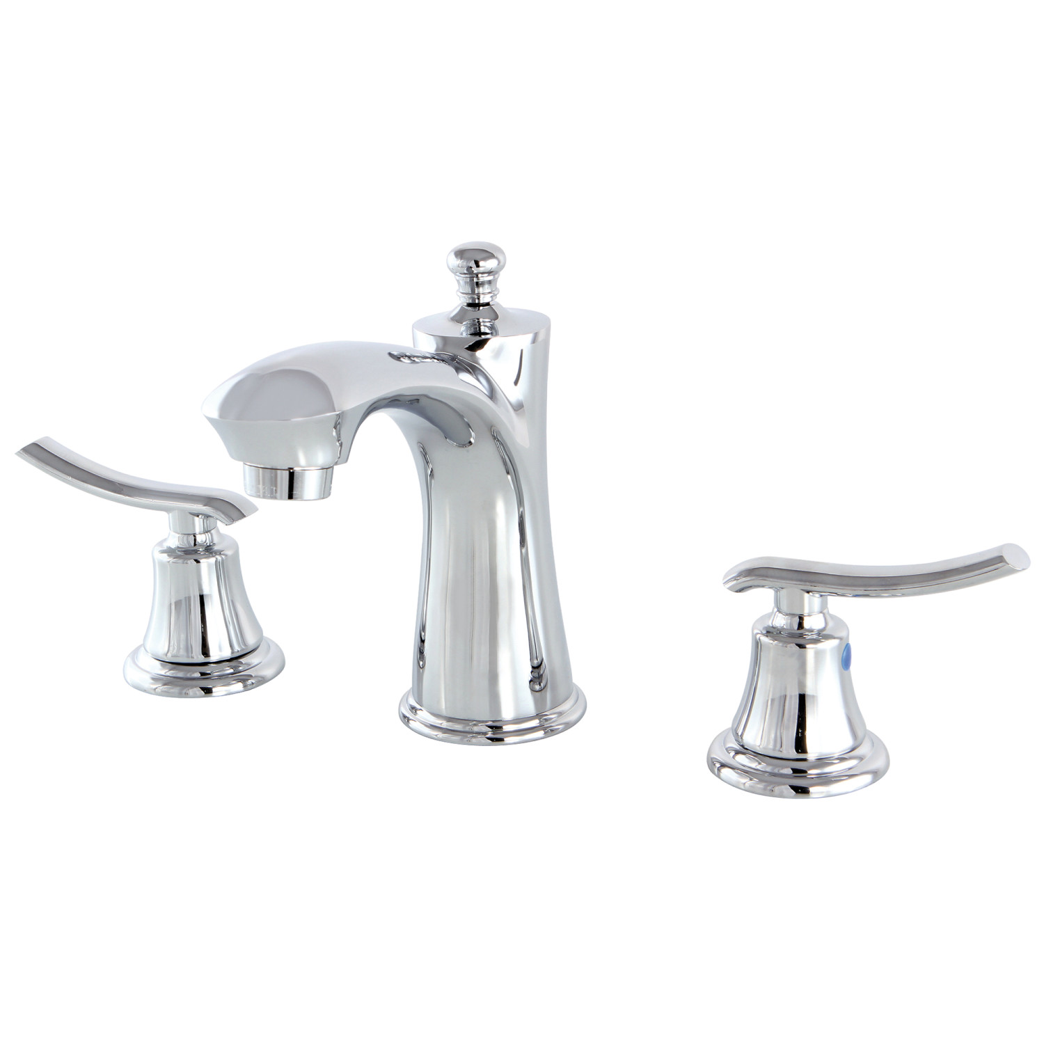 Traditional Two-Handle Three-Hole Deck Mounted Widespread Bathroom Faucet with Plastic Pop-Up in Polished Chrome with 3 Finish Options