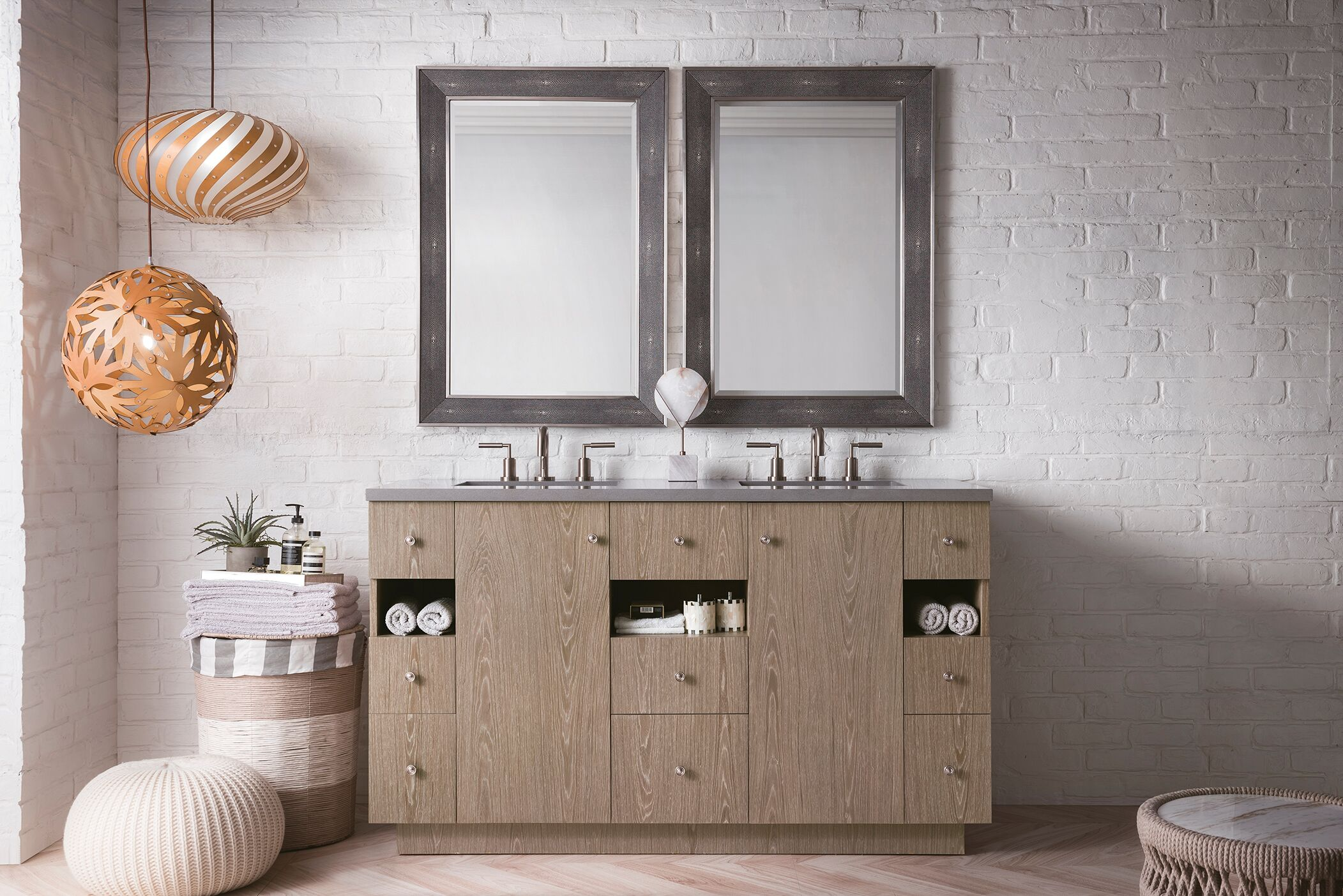 "James Martin Seaside Collection 60"" Double Vanity, Silver Apricot Finish"