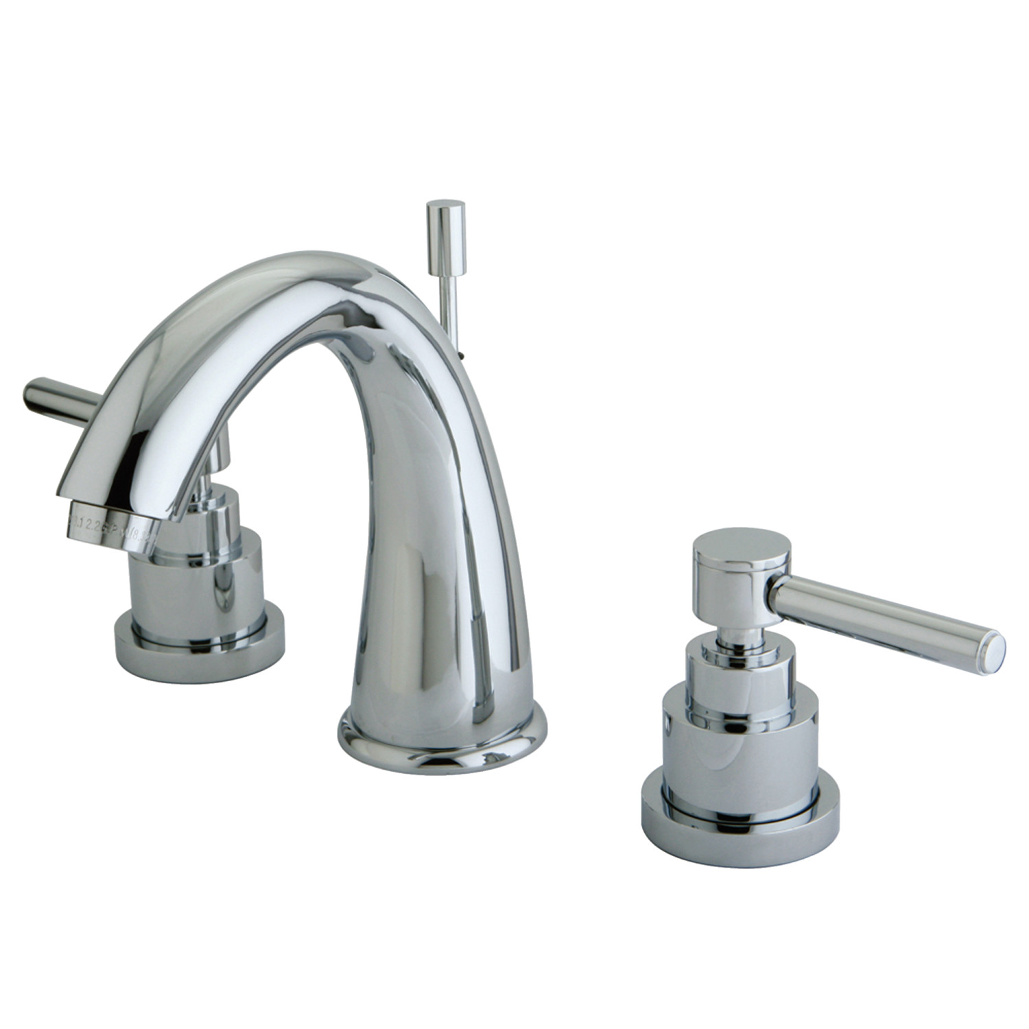 Modern Two-Handle Three-Hole Deck Mounted Widespread Bathroom Faucet with Brass Pop-Up in Polished Chrome with 4 Finish Options