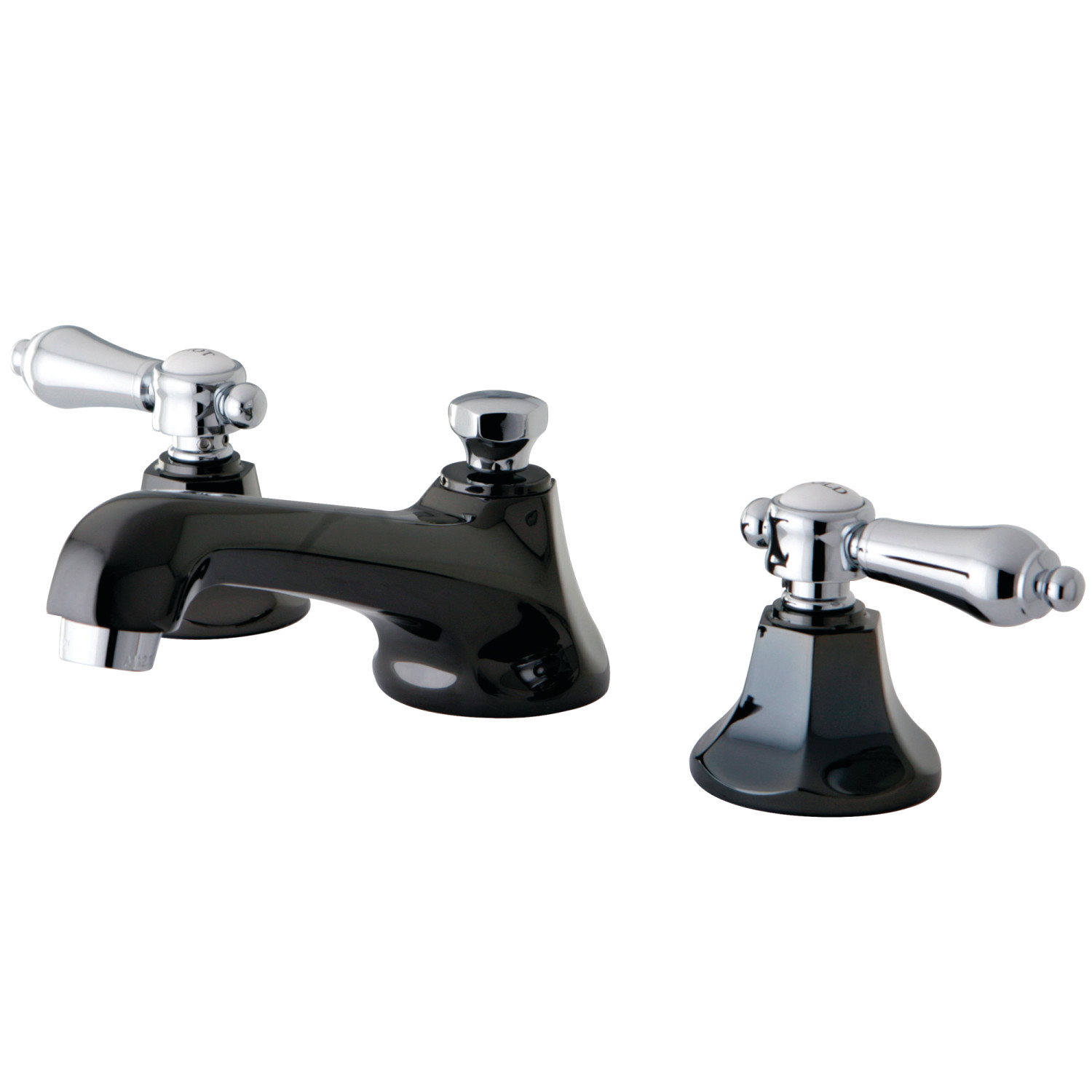 Traditional Two-Handle 3-Hole Deck Mounted Widespread Bathroom Faucet with Brass Pop-Up in Black Stainless Steel/Polished Chrome