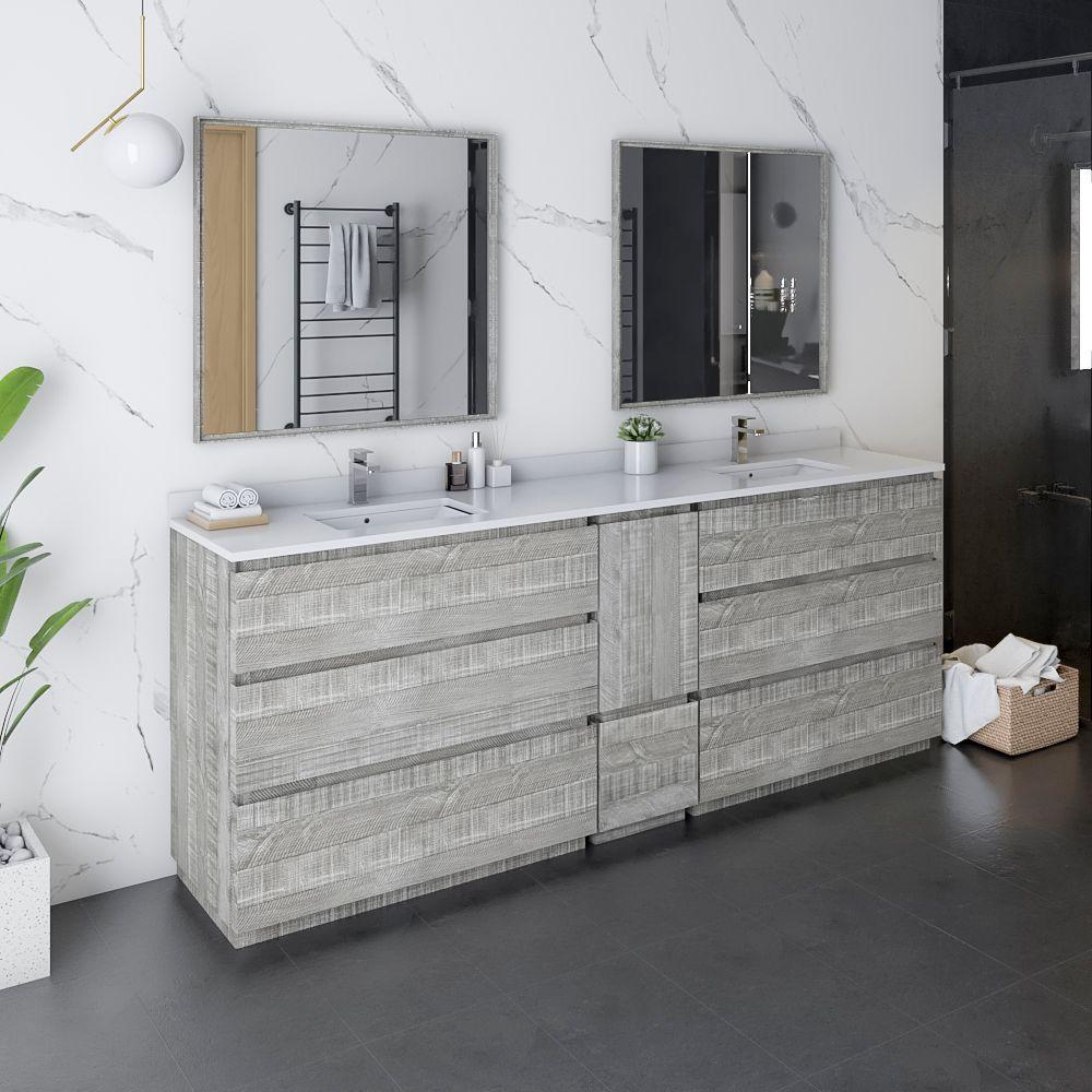 "84"" Floor Standing Double Sink Modern Bathroom Vanity w/ Mirrors in Ash"