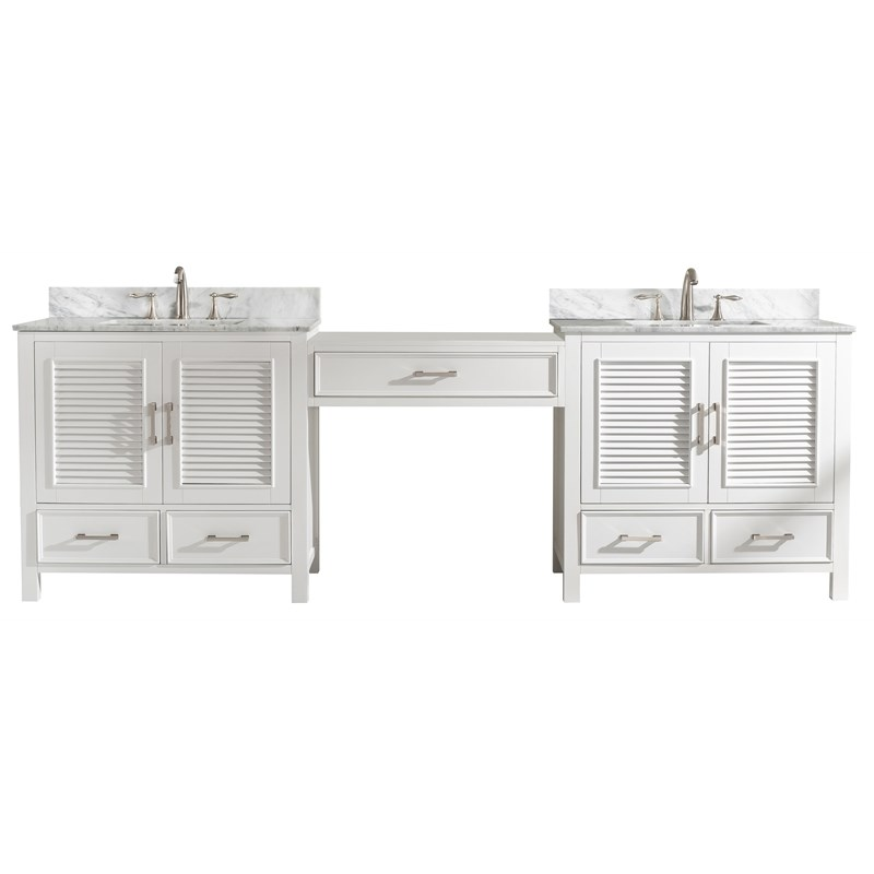 "Traditional 102"" Double Sink Bathroom Vanity Modular Set in White"