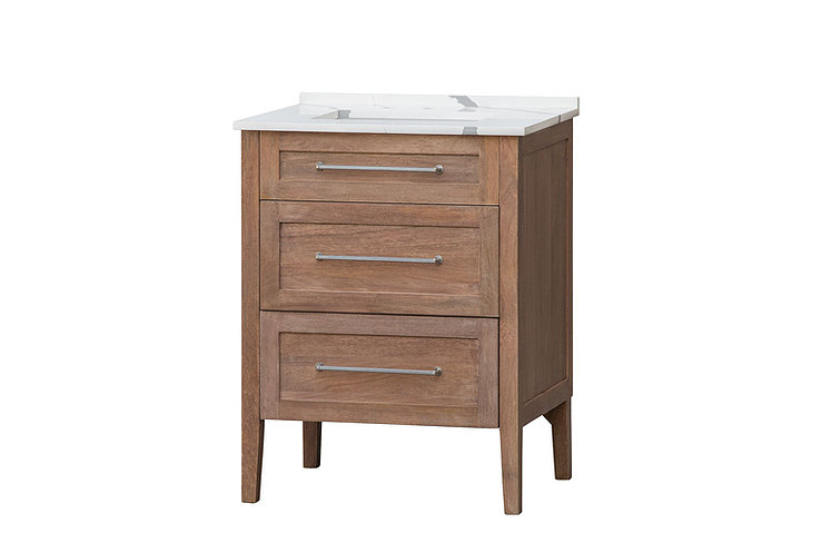 """28"""" Single Sink Bathroom Vanity Solid Mango Wood with Light Finish with White Quartz Counter Top"""