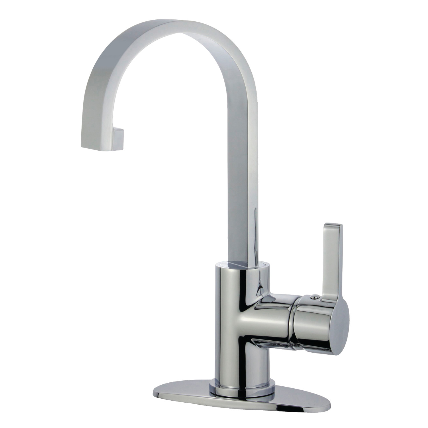 Single-Handle 1-Hole Deck Mounted Bathroom Faucet with Push Pop-Up in Polished Chrome with 5 Finish Option