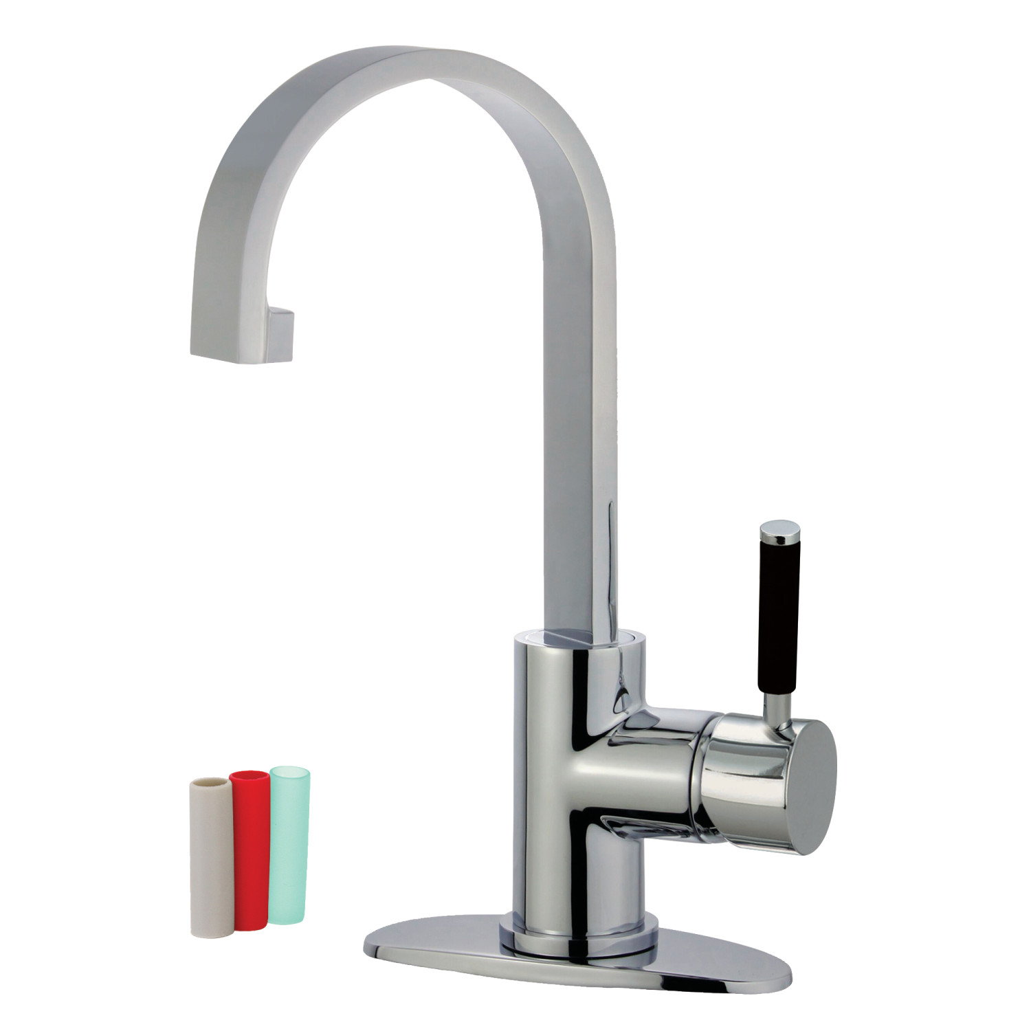 Single-Handle 1-Hole Deck Mounted Bathroom Faucet with Push Pop-Up in Polished Chrome with 3 Finish Options