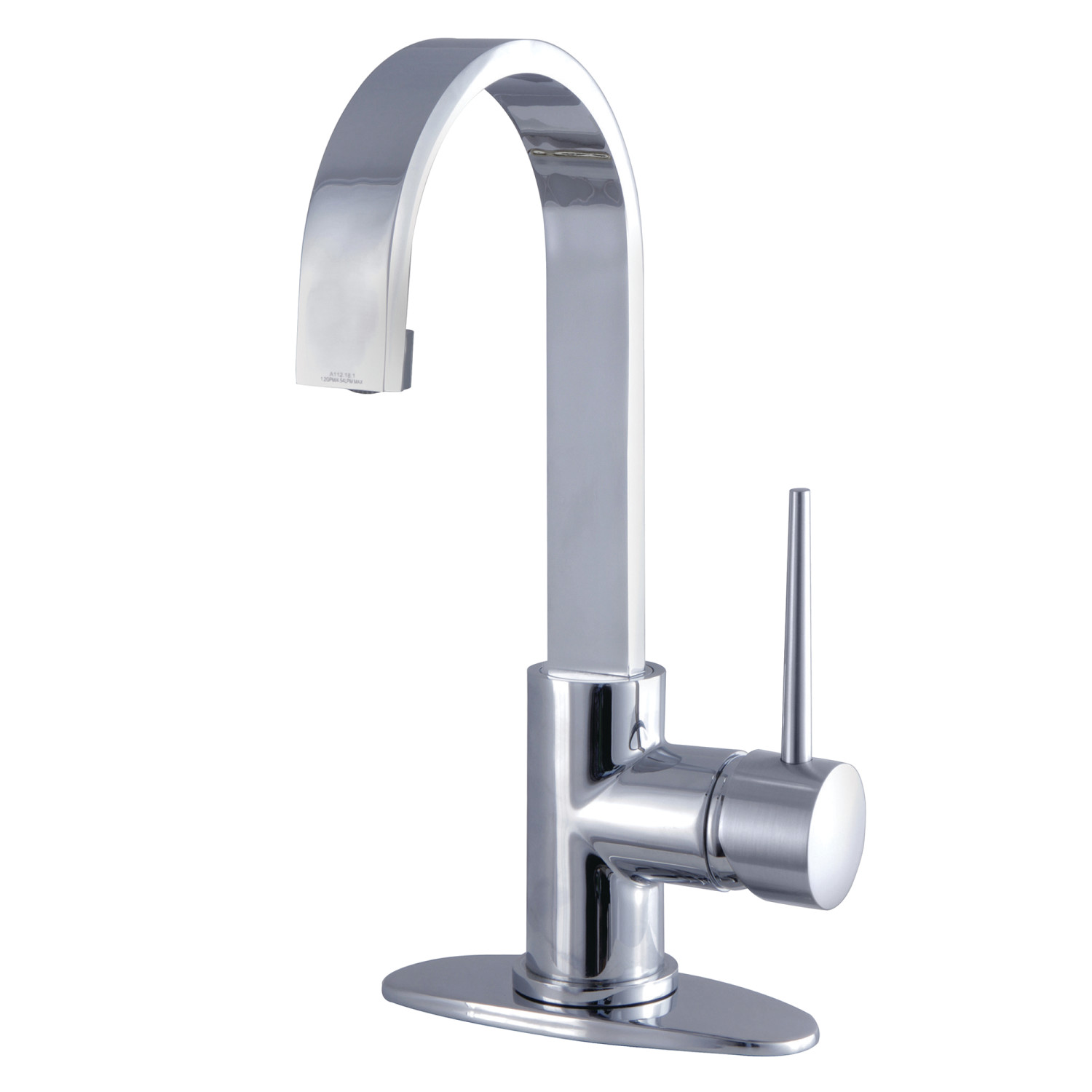 Single-Handle 1-Hole Deck Mounted Bathroom Faucet with Push Pop-Up in Polished Chrome with 4 Finish Options