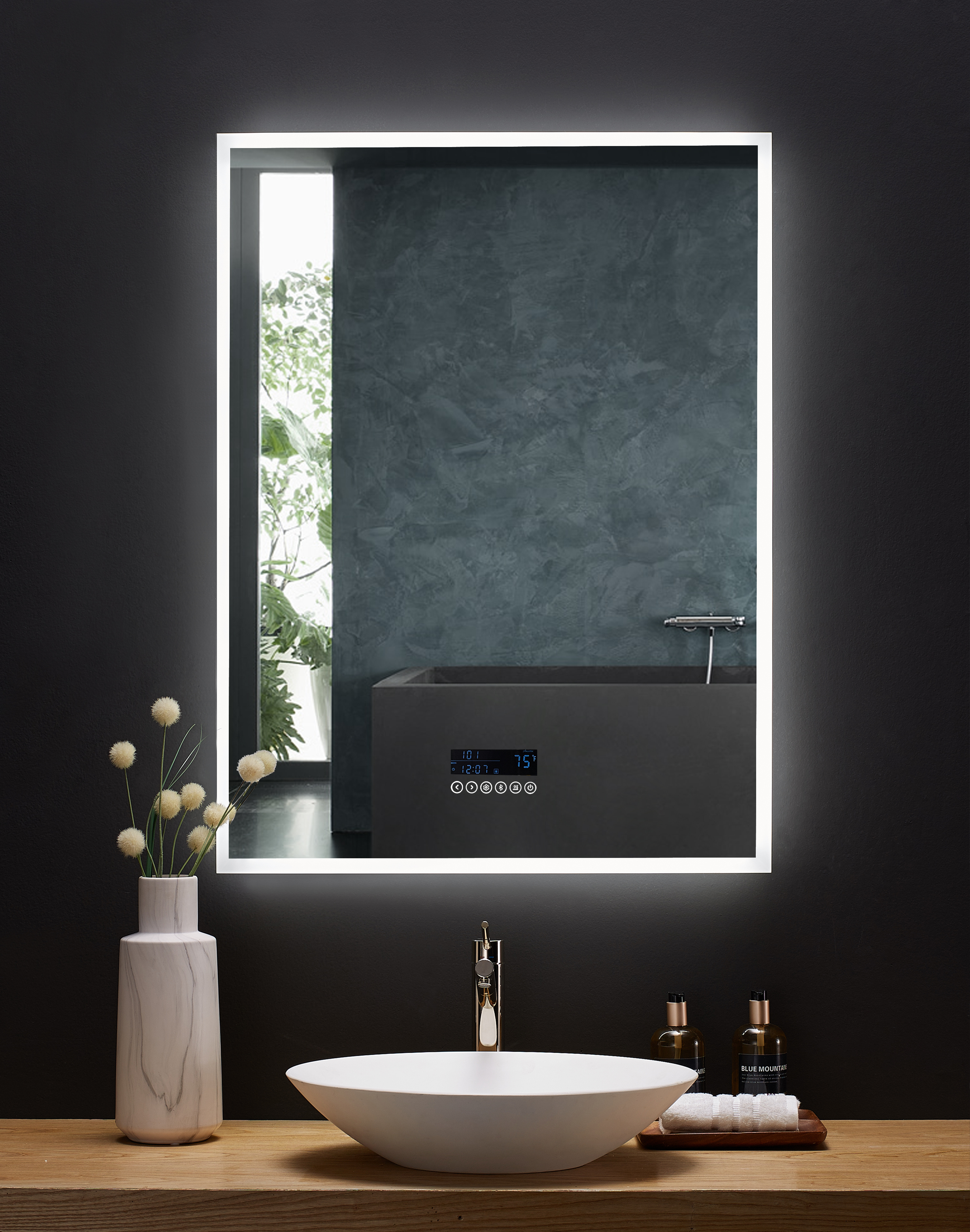 30 in. x 40 in. LED Frameless Mirror with Bluetooth, Defogger and Digital Display
