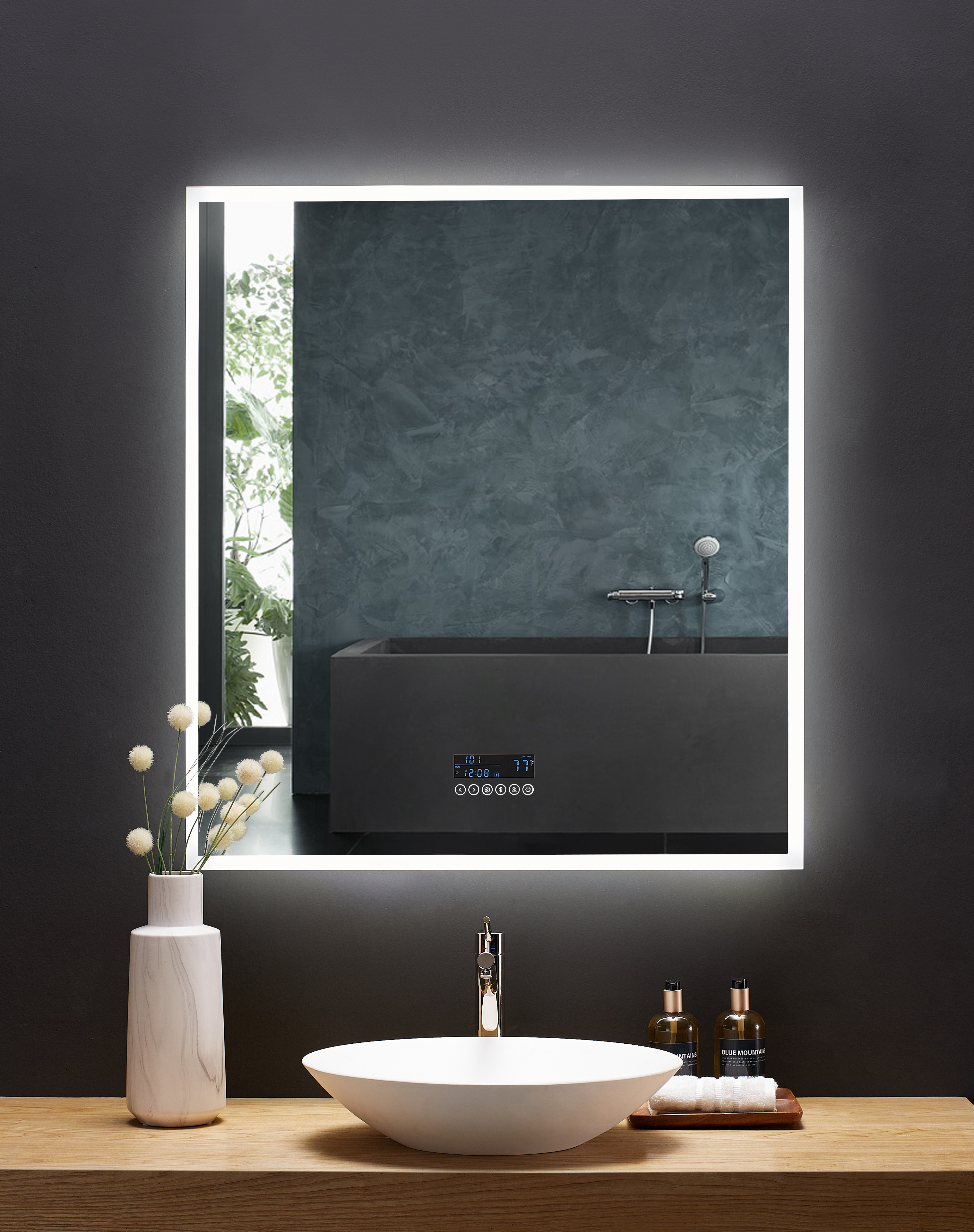36 in. x 40 in. LED Frameless Mirror with Bluetooth, Defogger  and Digital Display