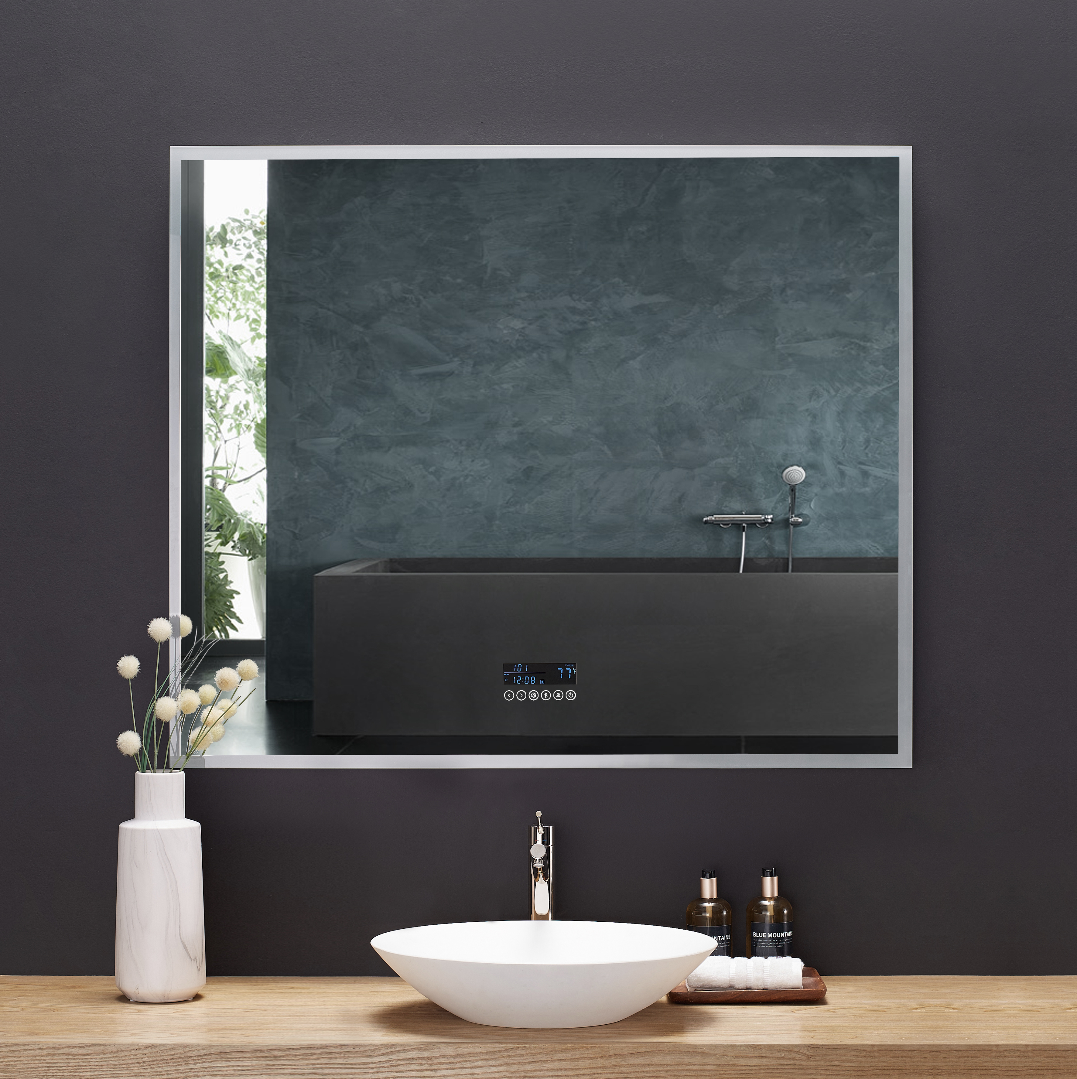 48 in. x 40 in. LED Frameless Mirror with Bluetooth, Defogger and Digital Display
