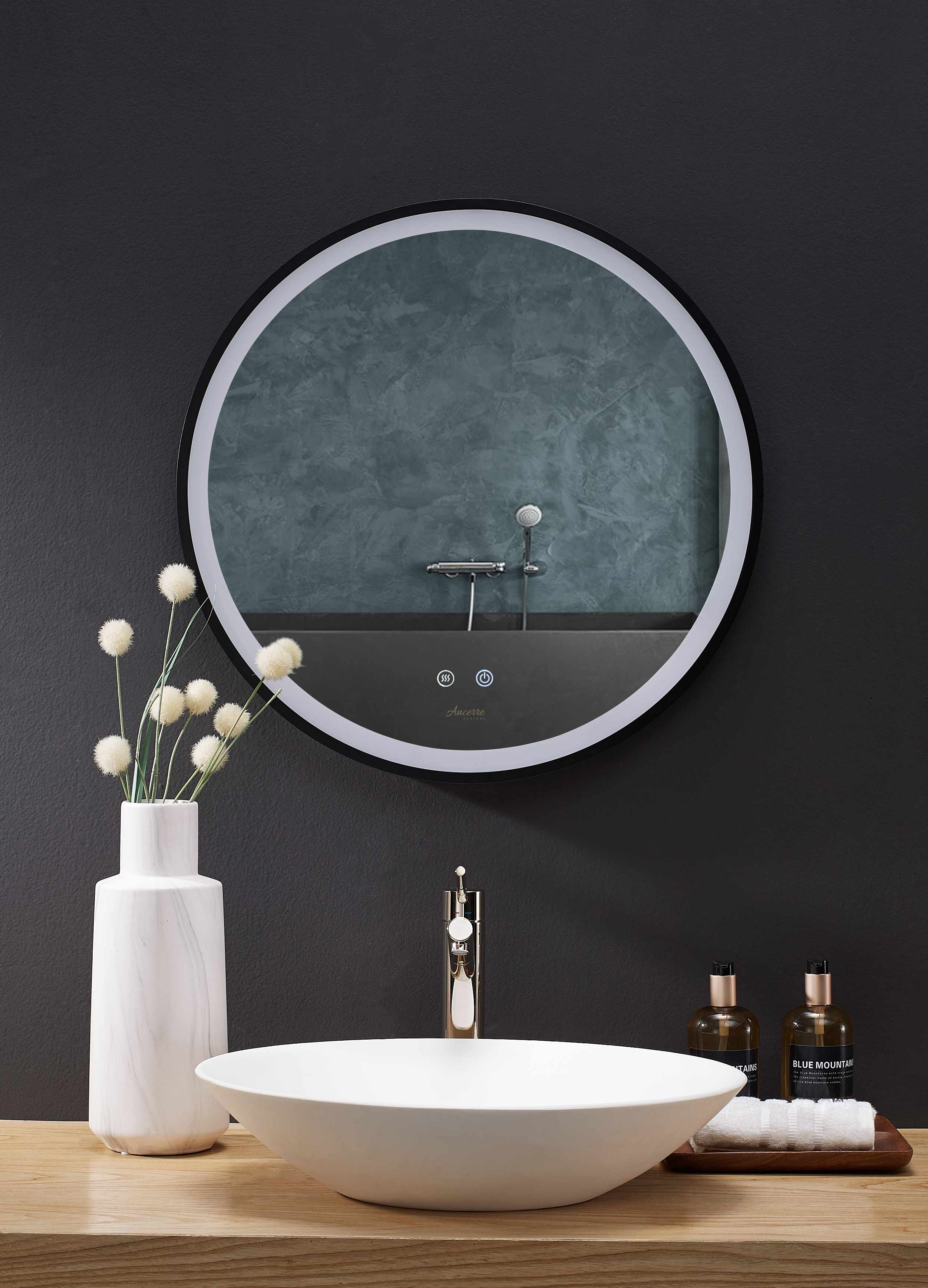 """30"""" Round LED Black Framed Mirror with Defogger and Dimmer"""