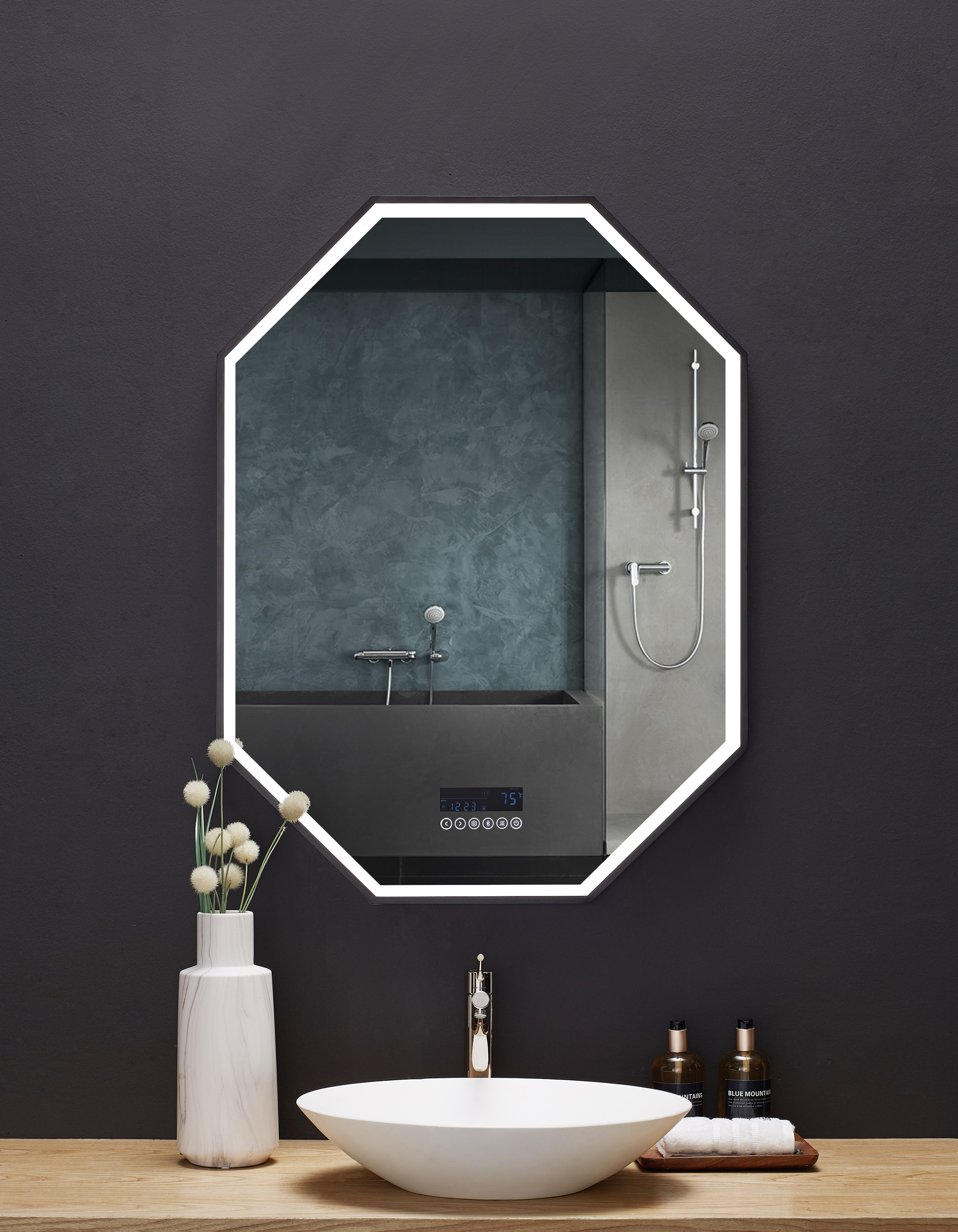 """30"""" x 40"""" LED Octagon Black Framed Mirror with Bluetooth and Digital Display"""