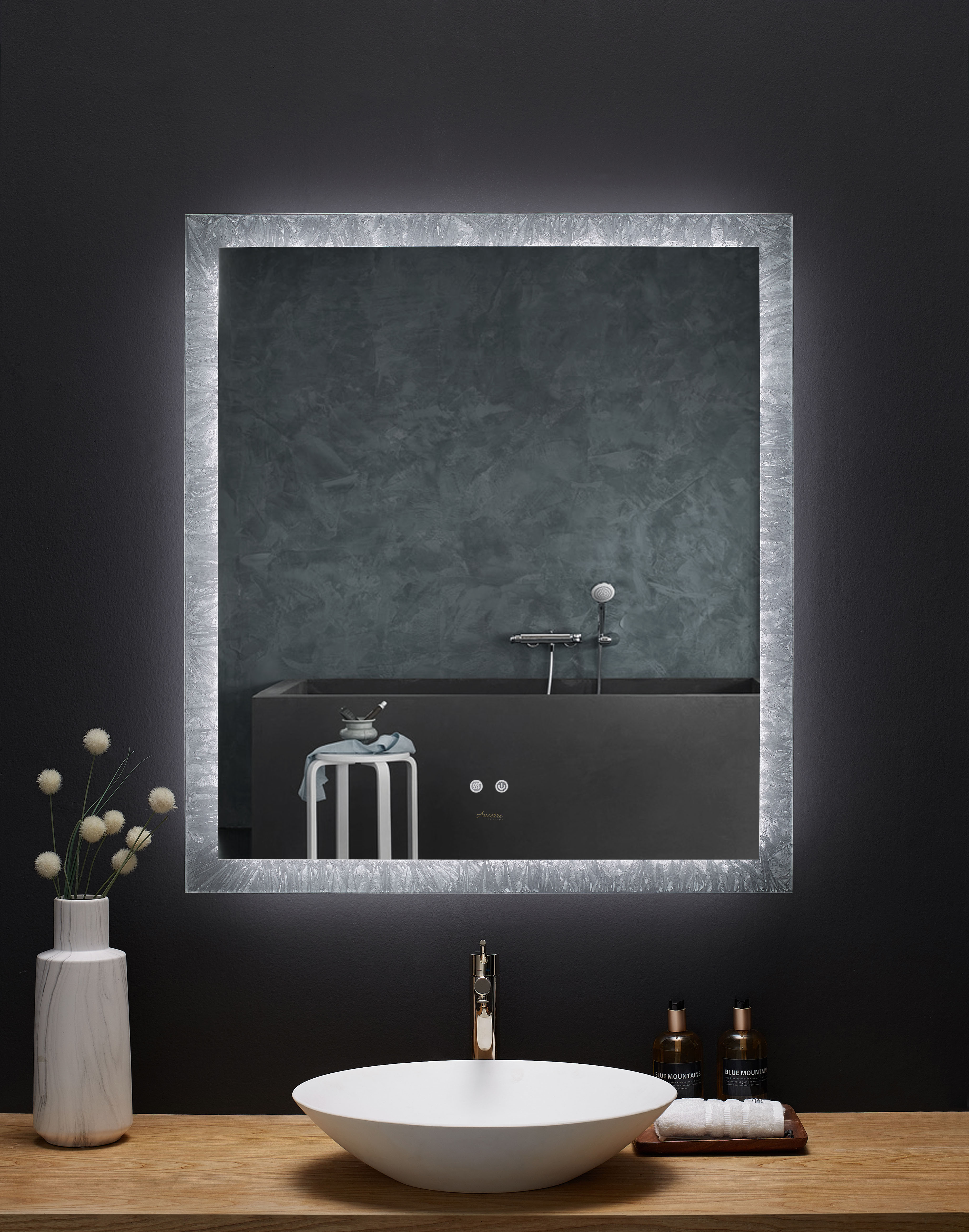 """36"""" x 40"""" LED Frameless Rectangualar Mirror with Dimmer and Defogger"""