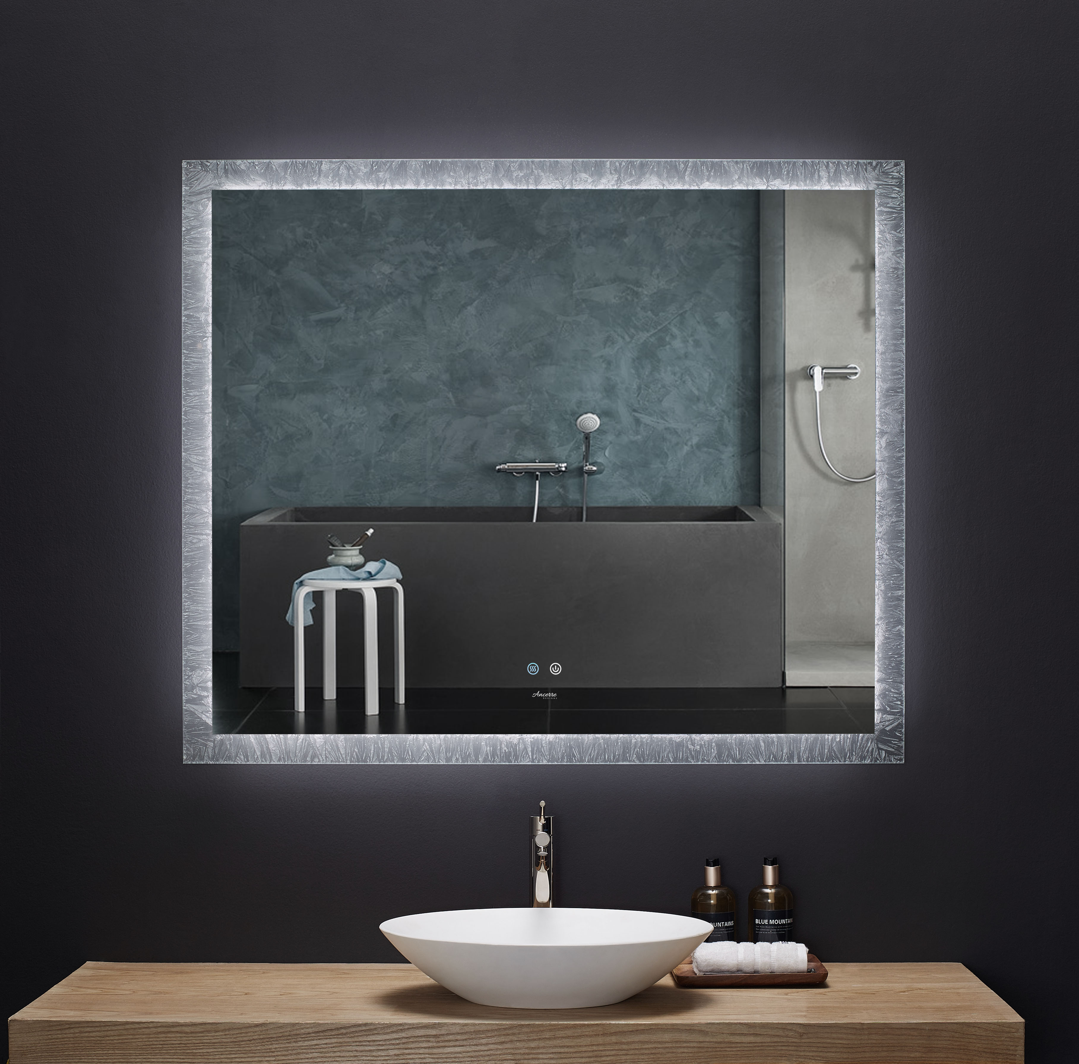 """48"""" x 40"""" LED Frameless Rectangualar Mirror with Dimmer and Defogger"""