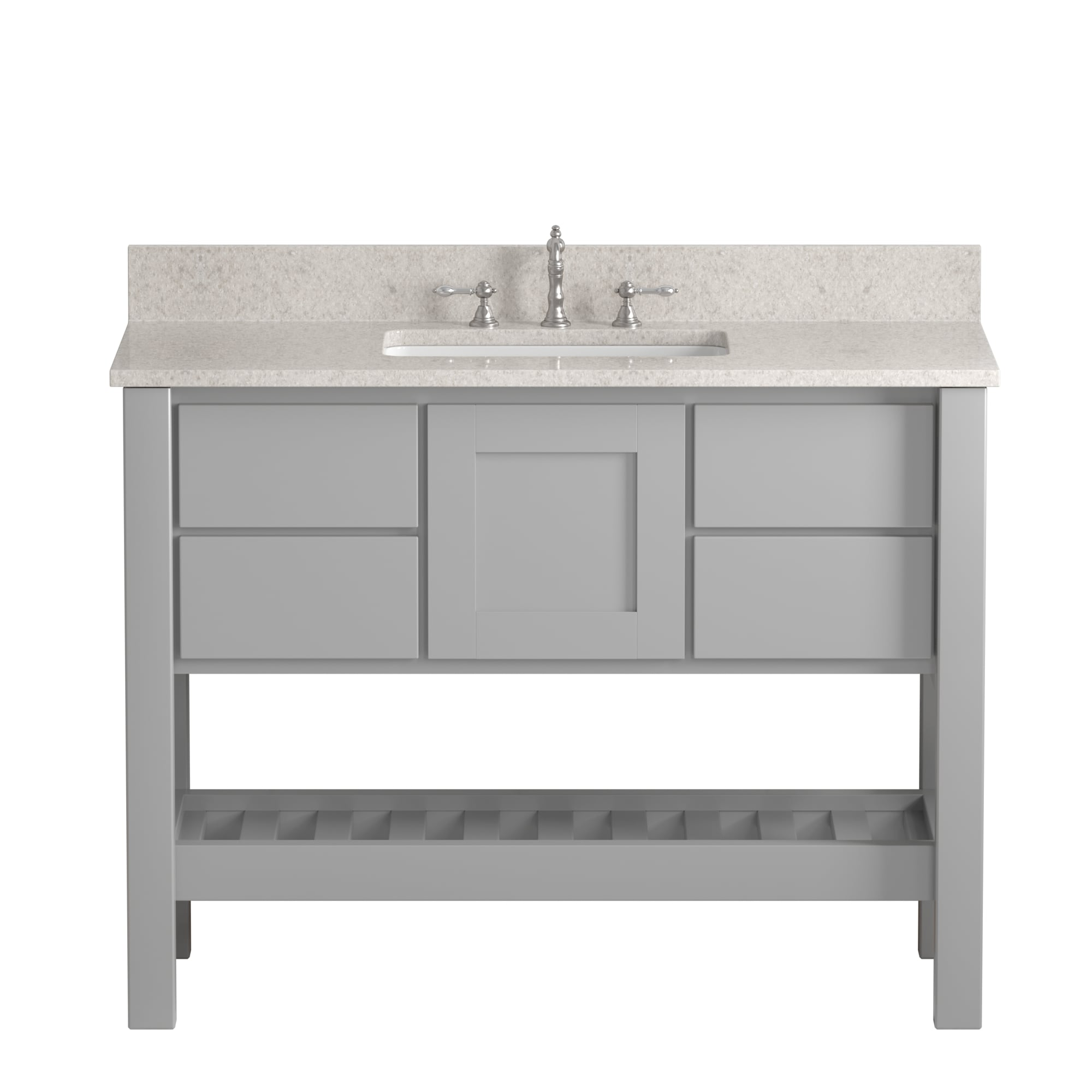 """Made in the USA, 48"""" Gray Solid Wood and Basin Sink Vanity with Countertop Options"""