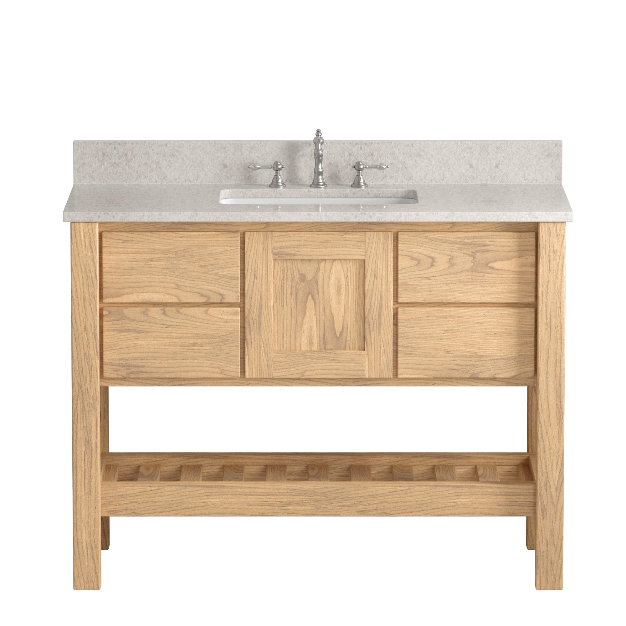 """Made in USA, 48"""" Natural Wood Solid Wood and Basin Sink Vanity with Countertop Options"""