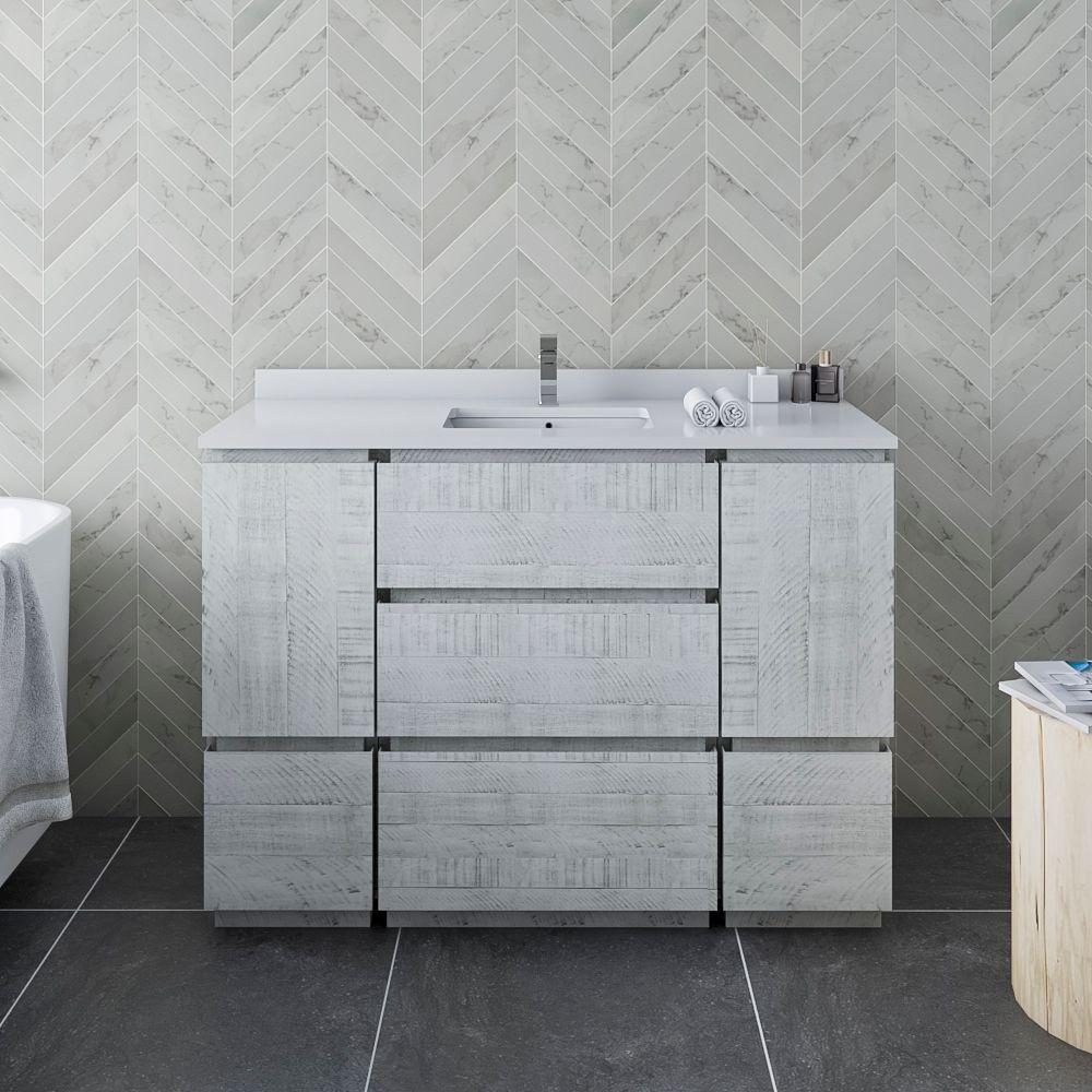 "48"" Floor Standing Modern Bathroom Cabinet w/ Top & Sink in Rustic White"