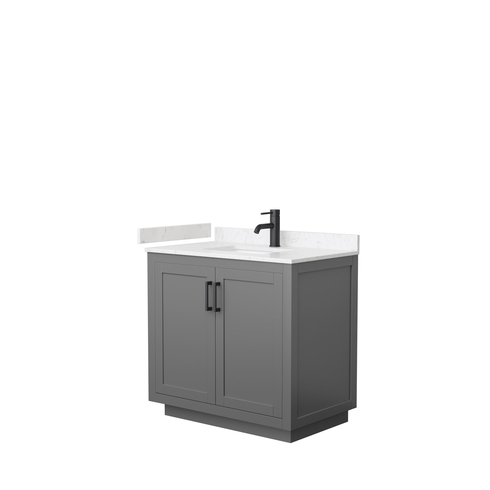 "36"" Single Bathroom Vanity in Dark Gray, Light-Vein Carrara Cultured Marble Countertop, Undermount Square Sink, Matte Black Trim"
