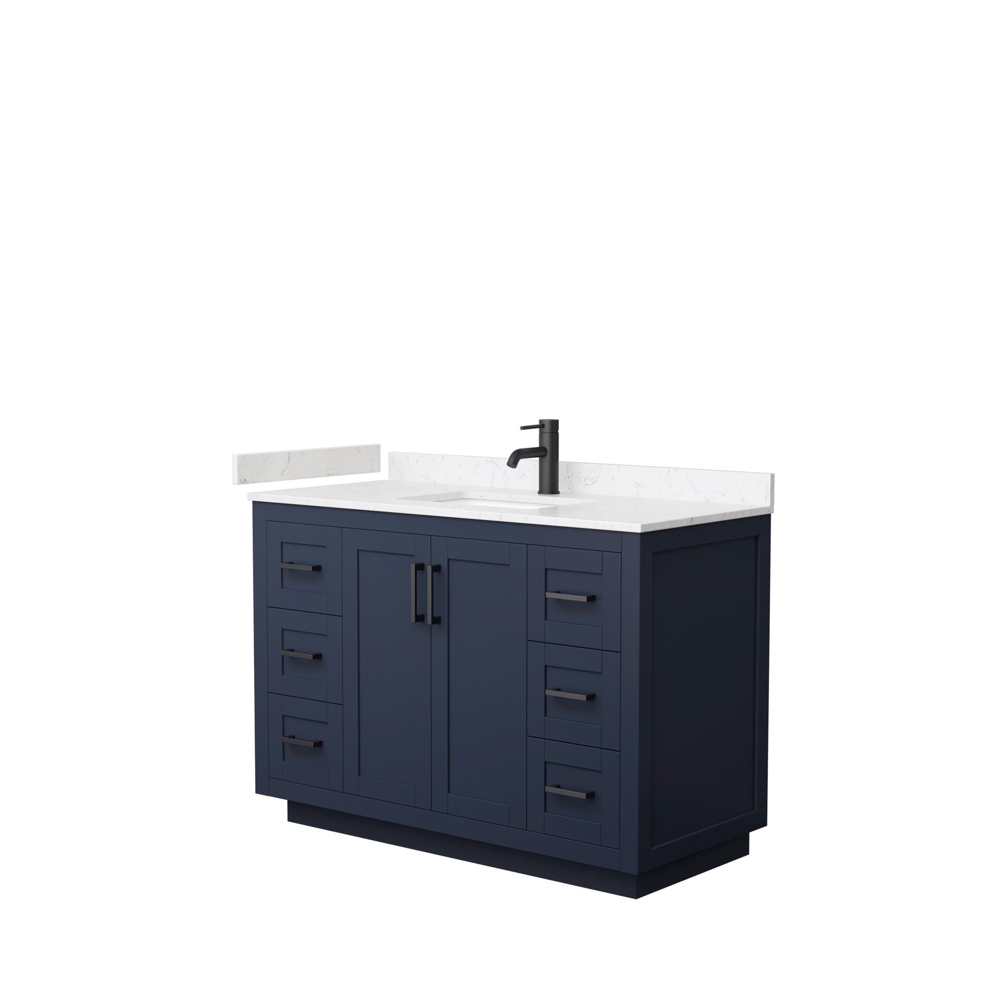 "48"" Single Bathroom Vanity in Dark Blue, Light-Vein Carrara Cultured Marble Countertop, Undermount Square Sink, Matte Black Trim"