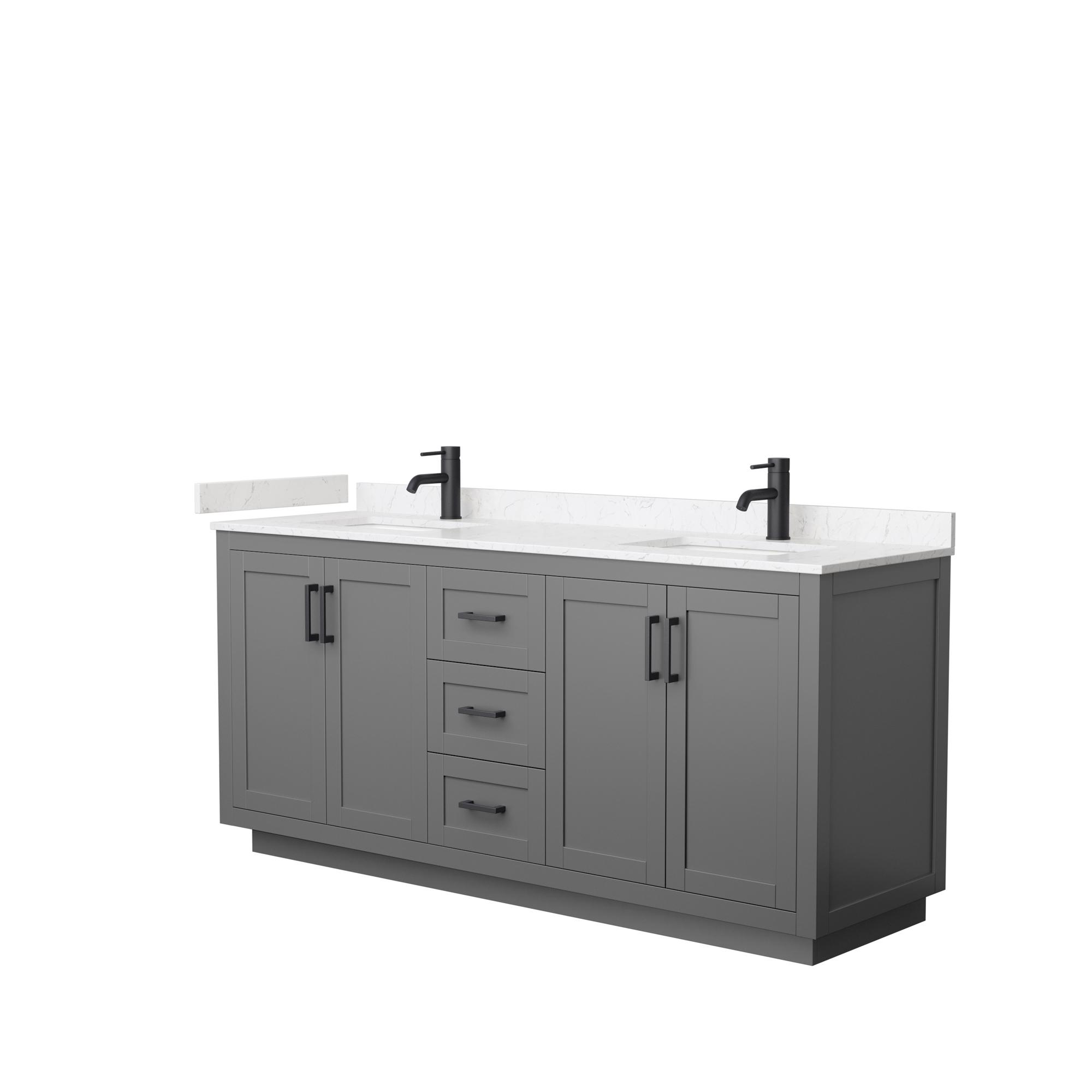 "72"" Double Bathroom Vanity in Dark Gray, Light-Vein Carrara Cultured Marble Countertop, Undermount Square Sinks, Matte Black Trim"