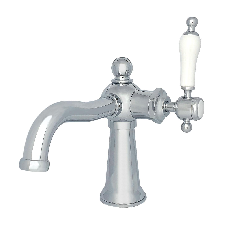 Single Handle 1 Hole Deck Mount Bathroom Faucet with Push Pop-up