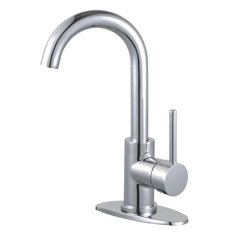 Single-Handle 1-Hole Deck Mount Bathroom Faucet with Push Pop-Up Polished Chrome