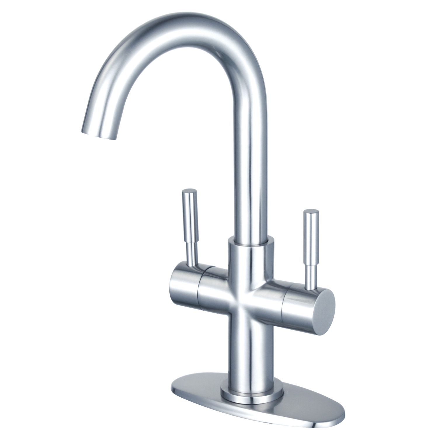 Two-Handle 1-Hole Deck Mount Bathroom Faucet with Push Pop-Up in Polished Chrome