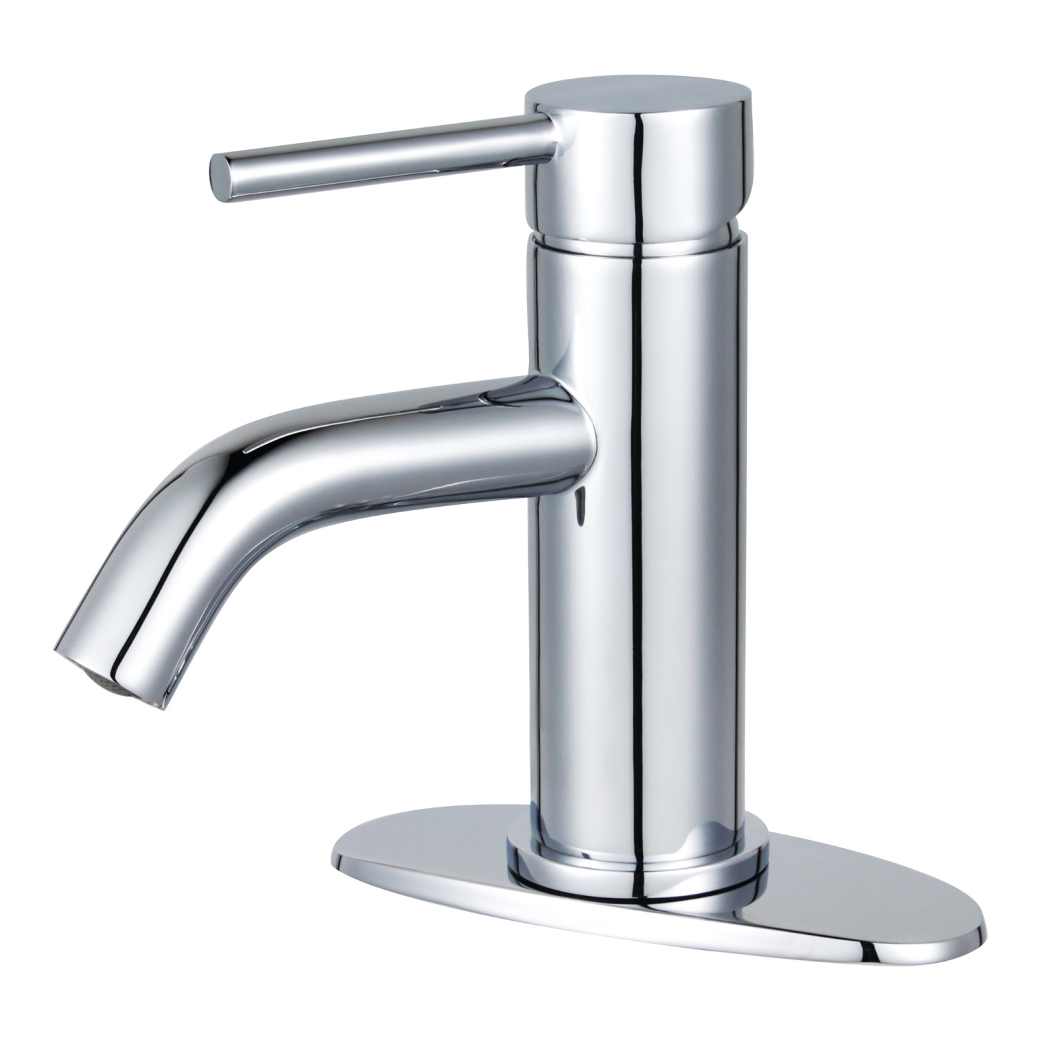 Single-Handle 1-Hole Deck Mount Bathroom Faucet with Push Pop-Up in Polished Chrome with 3 Finish Options