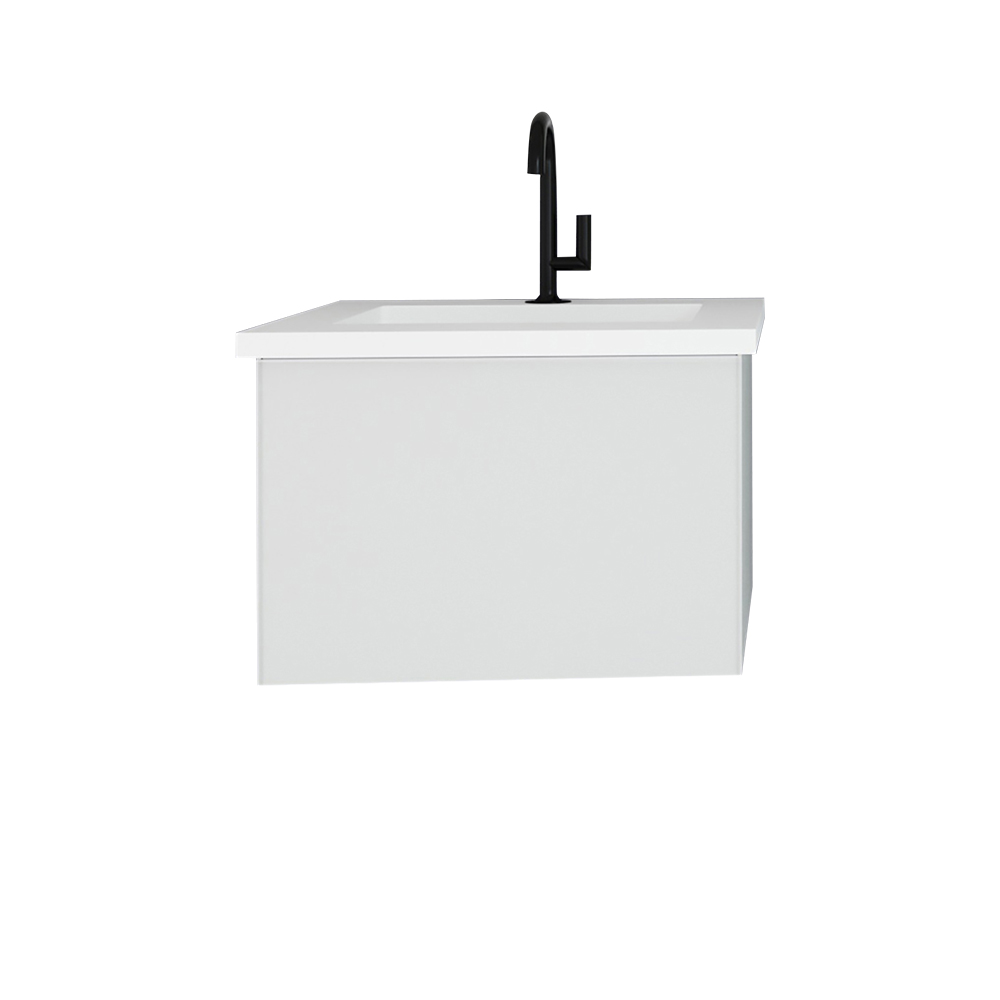 """24"""" Cloud White Bathroom Vanity with Matte White VIVA Stone Solid Surface Countertop"""
