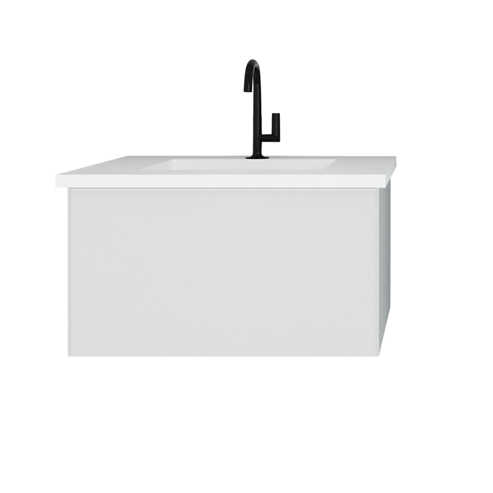 """30"""" Cloud White Bathroom Vanity with Matte White VIVA Stone Solid Surface Countertop"""