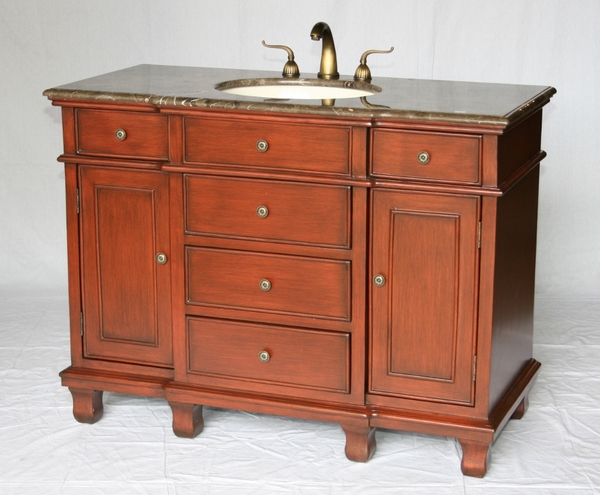 "48"" Adelina Traditional Style Single Sink Bathroom Vanity in Cherry Finish with Light Brown Stone Countertop and Oval Bone Porcelain Sink"