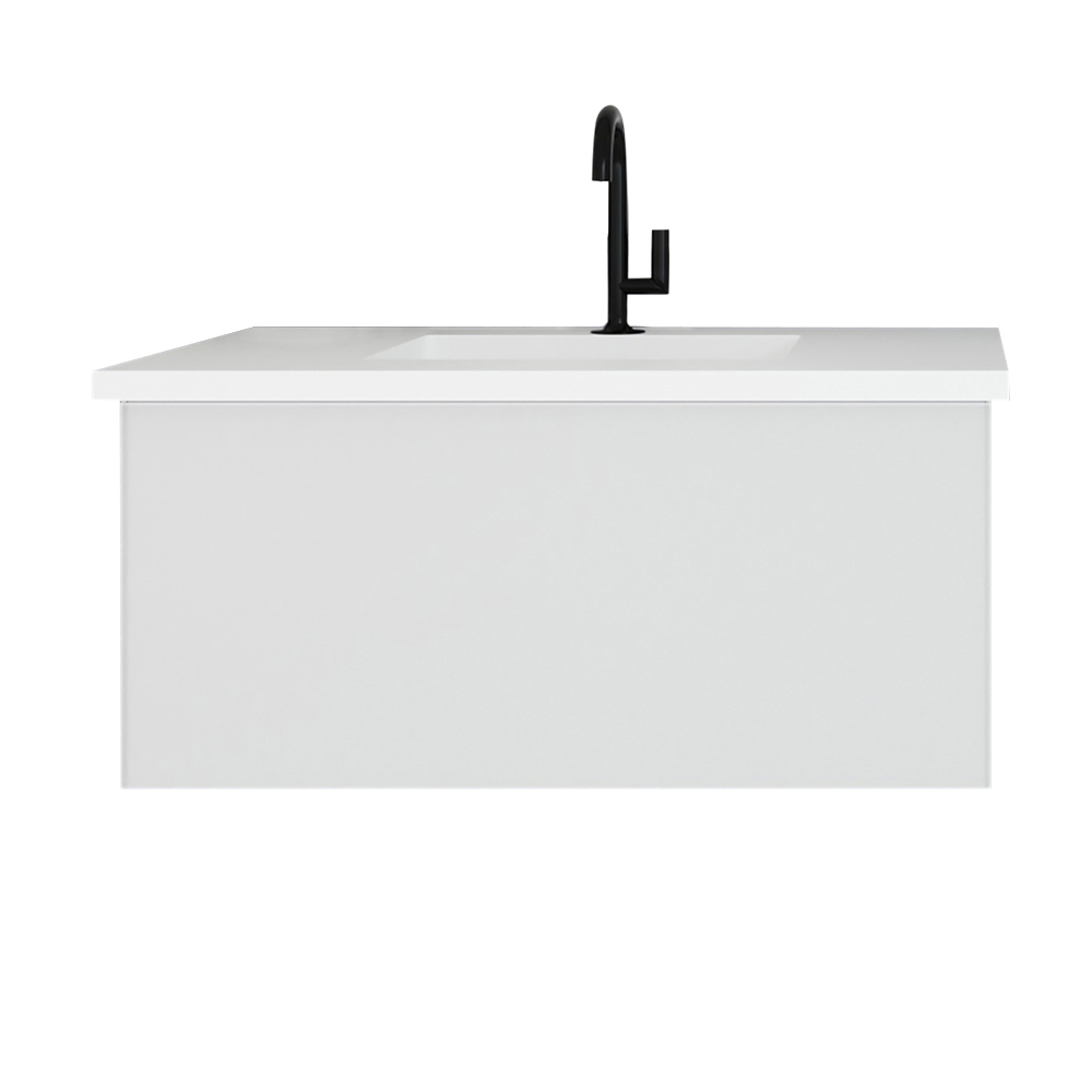 """36"""" Cloud White Bathroom Vanity with Matte White VIVA Stone Solid Surface Countertop"""