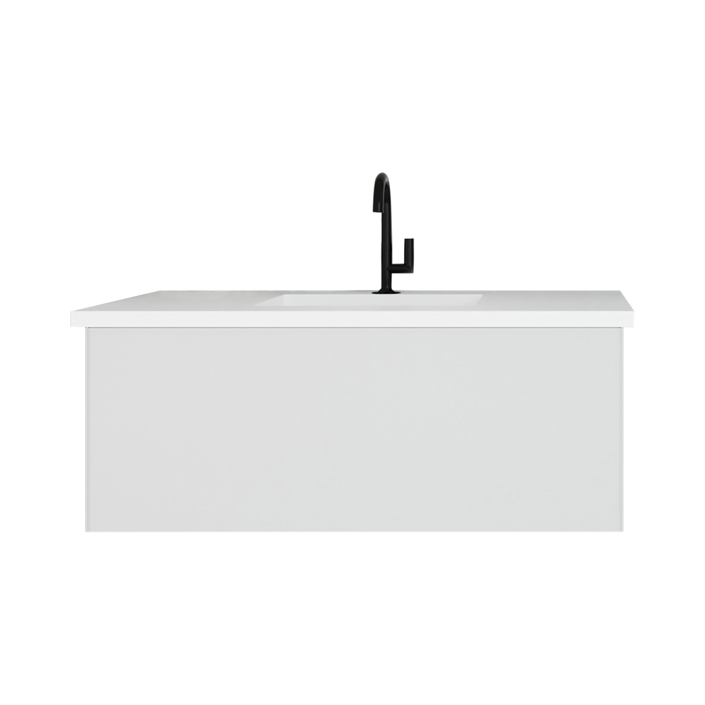 """42"""" Cloud White Bathroom Vanity with Matte White VIVA Stone Solid Surface Countertop"""