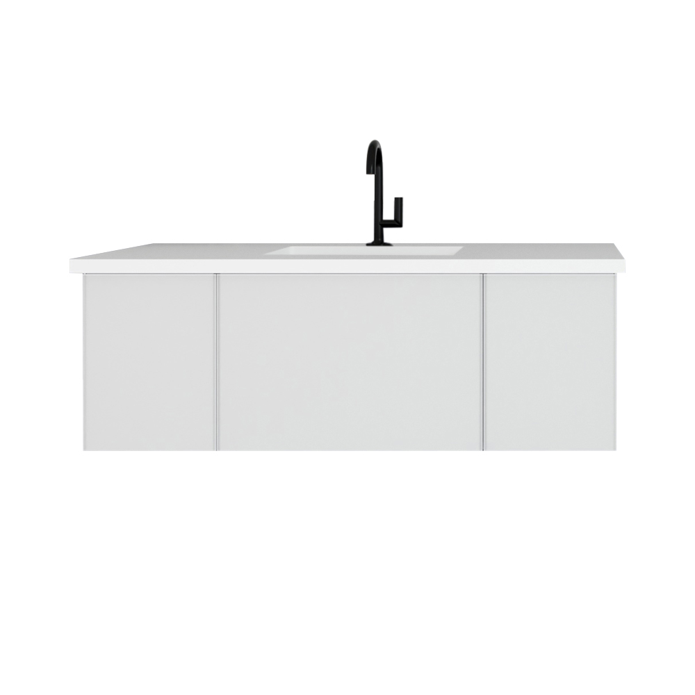 """48"""" Cloud White Bathroom Vanity with Matte White VIVA Stone Solid Surface Countertop"""