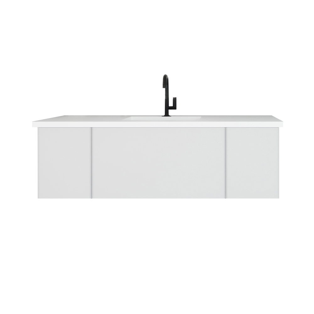 """54"""" Cloud White Bathroom Vanity with Matte White VIVA Stone Solid Surface Countertop"""