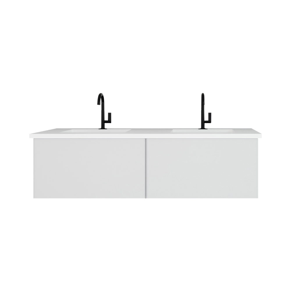 """60"""" Cloud White Double Sink Bathroom Vanity with Matte White VIVA Stone Solid Surface Double Sink Countertop"""