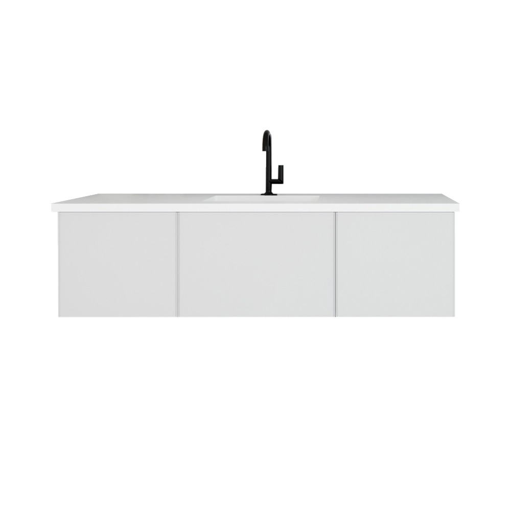 """60"""" Cloud White Single Sink Bathroom Vanity with Matte White VIVA Stone Solid Surface Center Sink Countertop"""