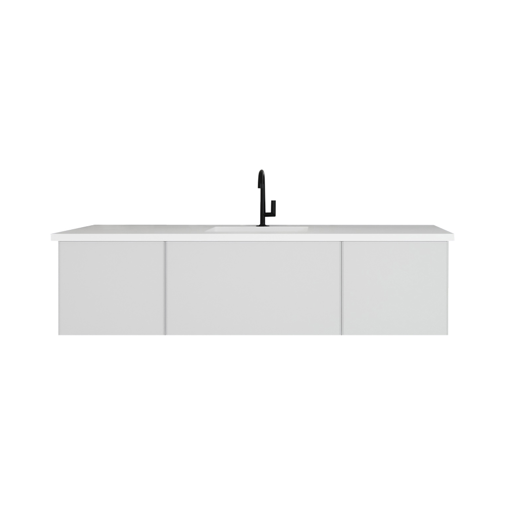 """66"""" Cloud White Bathroom Vanity with Matte White VIVA Stone Solid Surface Countertop"""