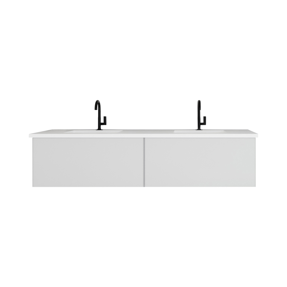 """72"""" Cloud White Double Sink Bathroom Vanity with Matte White VIVA Stone Solid Surface Double Sink Countertop"""