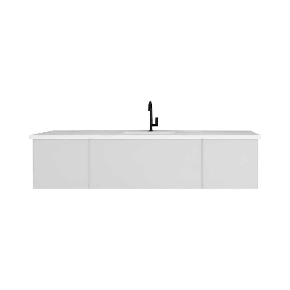 """72"""" Cloud White Single Sink Bathroom Vanity with Matte White VIVA Stone Solid Surface Center Sink Countertop"""