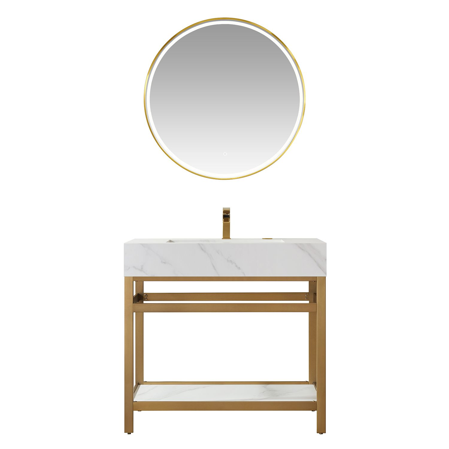 """36"""" Vanity with Brushed-gold stainless steel bracket match with Snow mountain-white stone Countertop Without Mirror"""