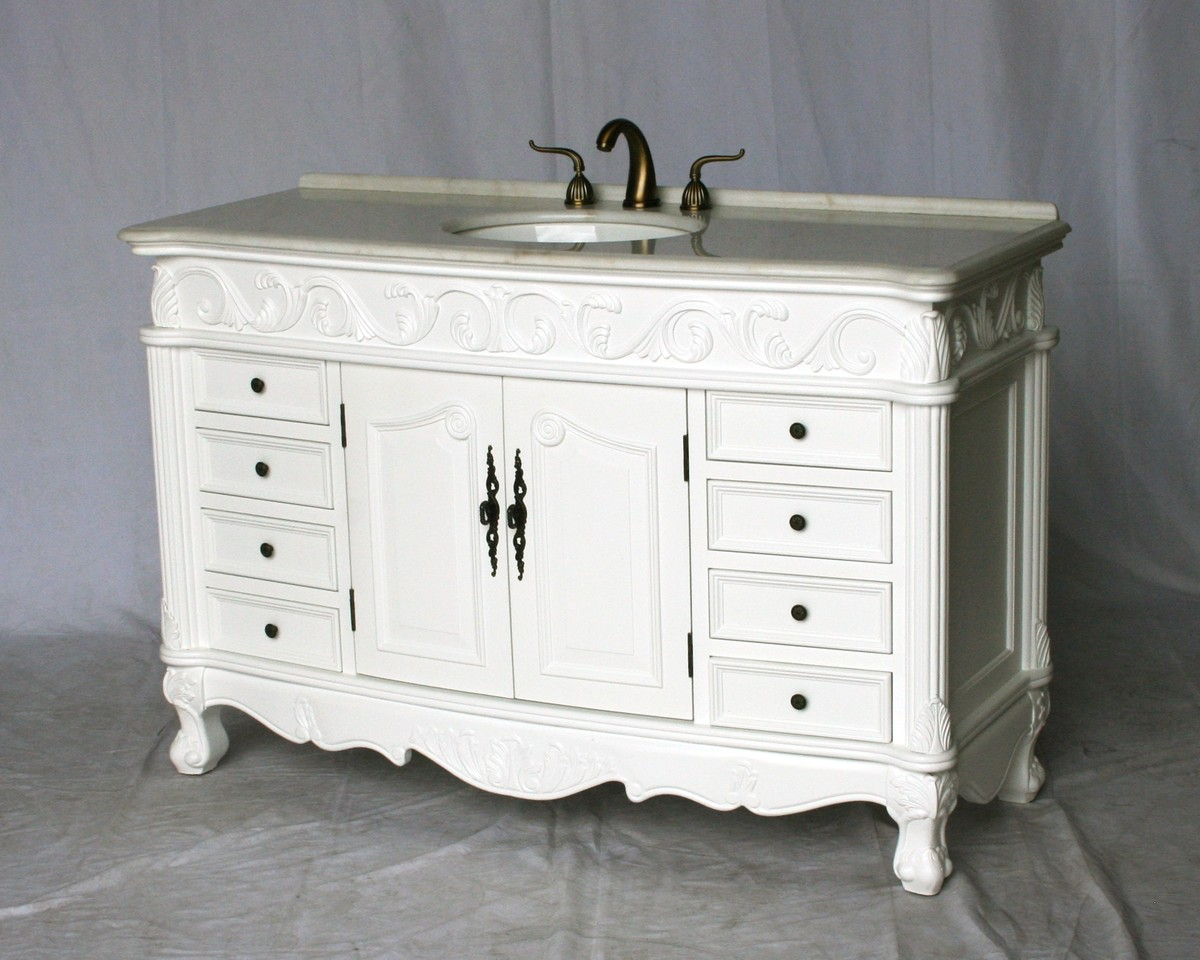 "54"" Adelina Antique Style Single Sink Bathroom Vanity in Pure White Finish with Imperial White Stone Countertop and Oval White Porcelain Sink"