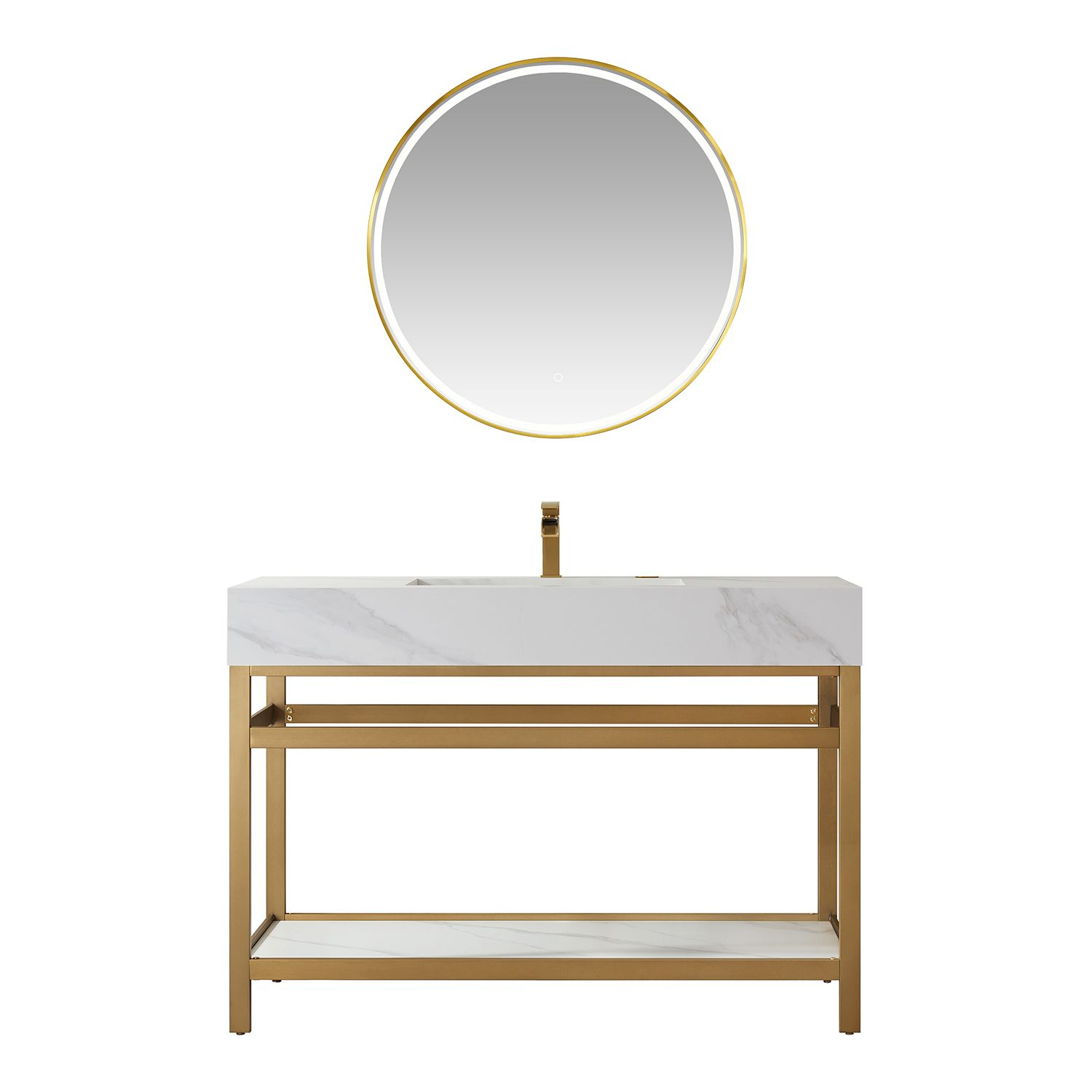 """48"""" Vanity with Brushed-gold stainless steel bracket match with Snow mountain-white stone Countertop Without Mirror"""