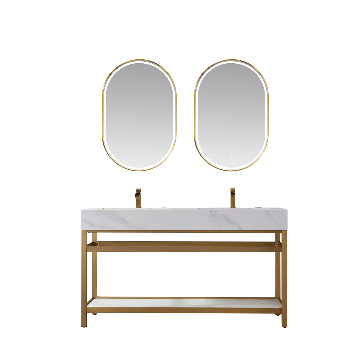 """60"""" Vanity with Brushed-gold stainless steel bracket match with Snow mountain-white stone Countertop Without Mirror"""