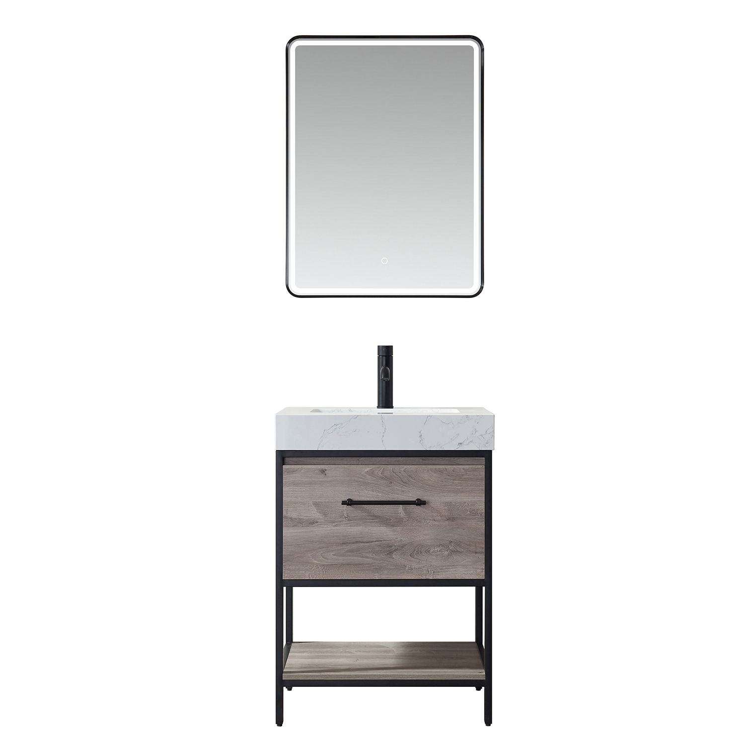 """24"""" Vanity in Moxican Oak with White Composite Grain Stone Countertop Without Mirror"""