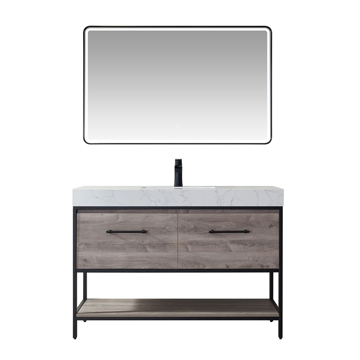 """48"""" Vanity in Moxican Oak with White Composite Grain Stone Countertop Without Mirror"""