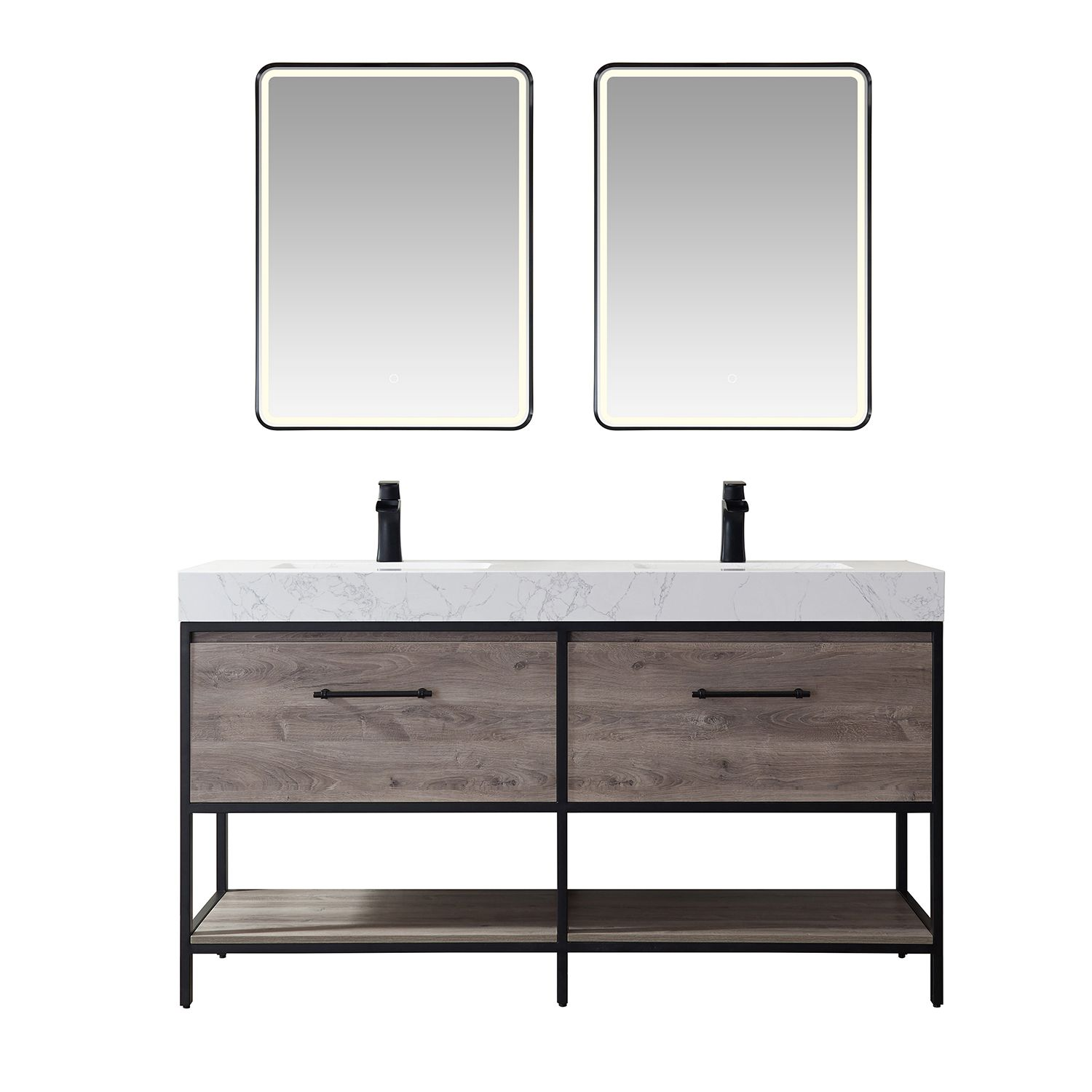"""60"""" Vanity in Moxican Oak with White Composite Grain Stone Countertop Without Mirror"""