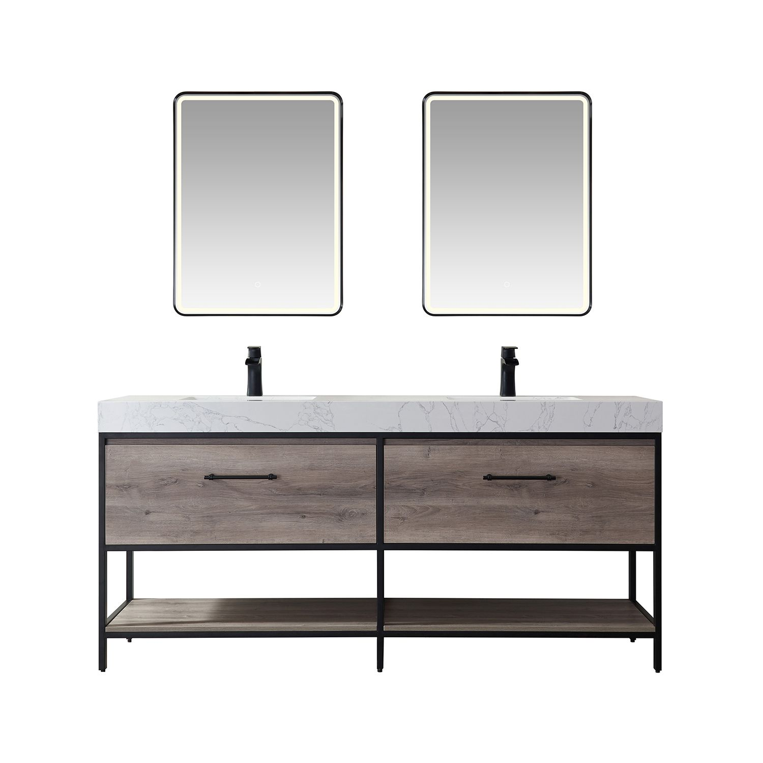 """72"""" Vanity in Moxican Oak with White Composite Grain Stone Countertop Without Mirror"""