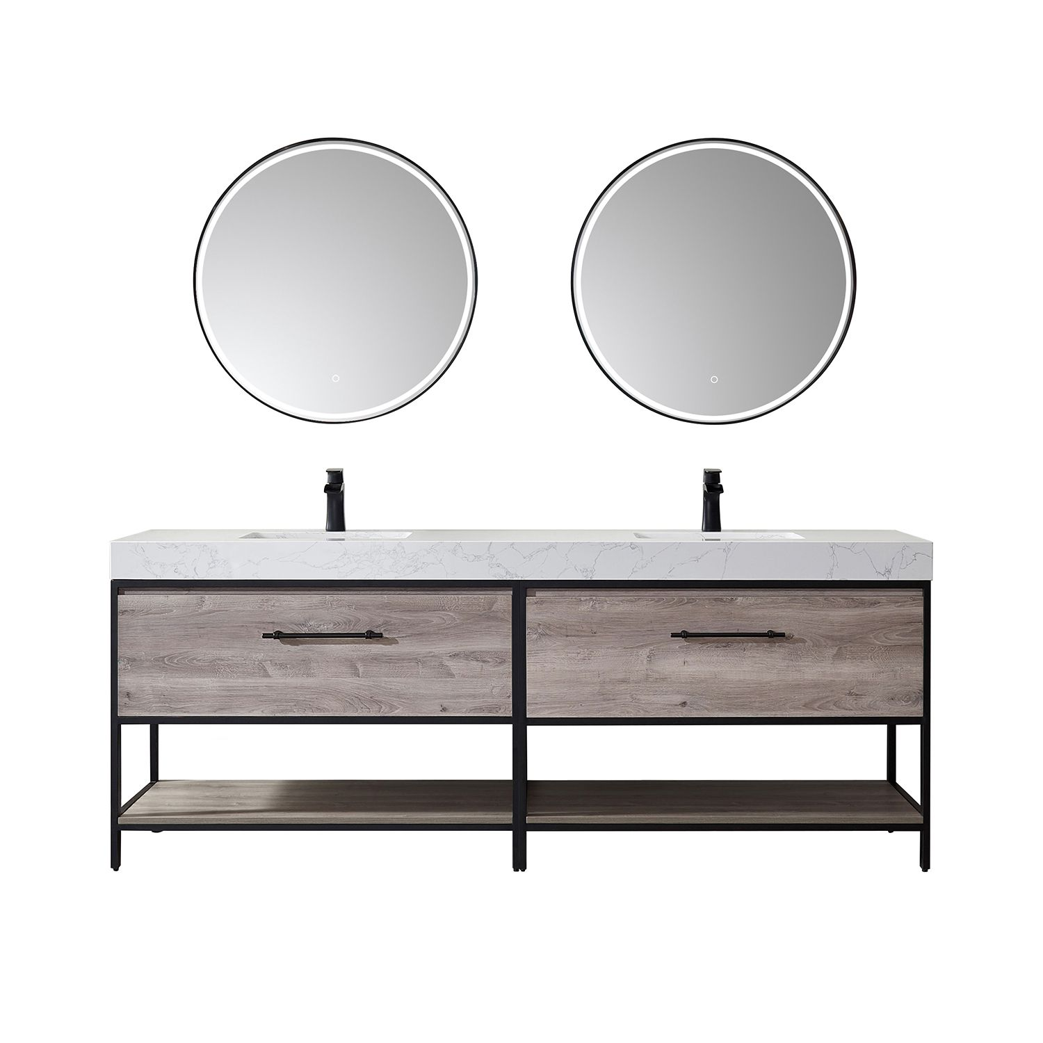 """84"""" Vanity in Moxican Oak with White Composite Grain Stone Countertop Without Mirror"""